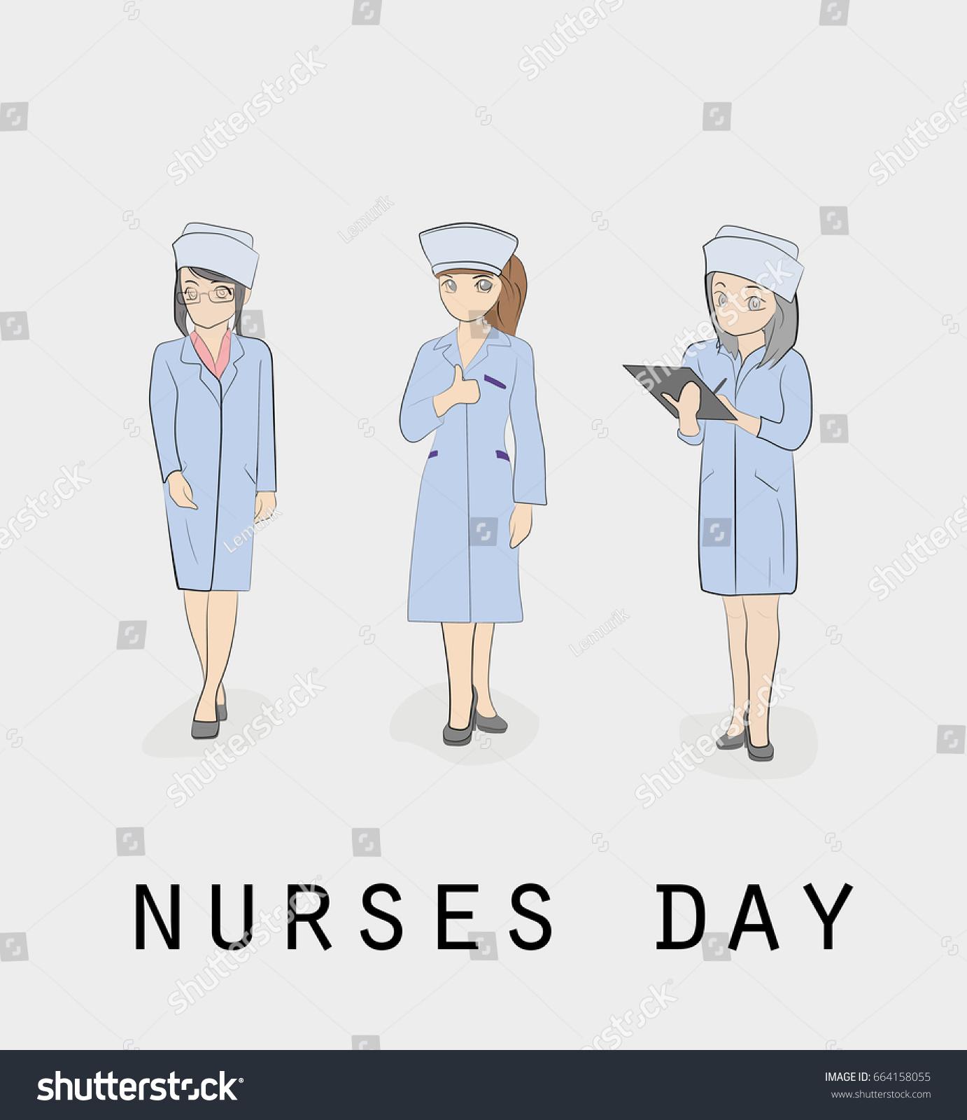 Nurses Nursing Day Hand Drawn Cartoon Stock Photo (Photo, Vector ...