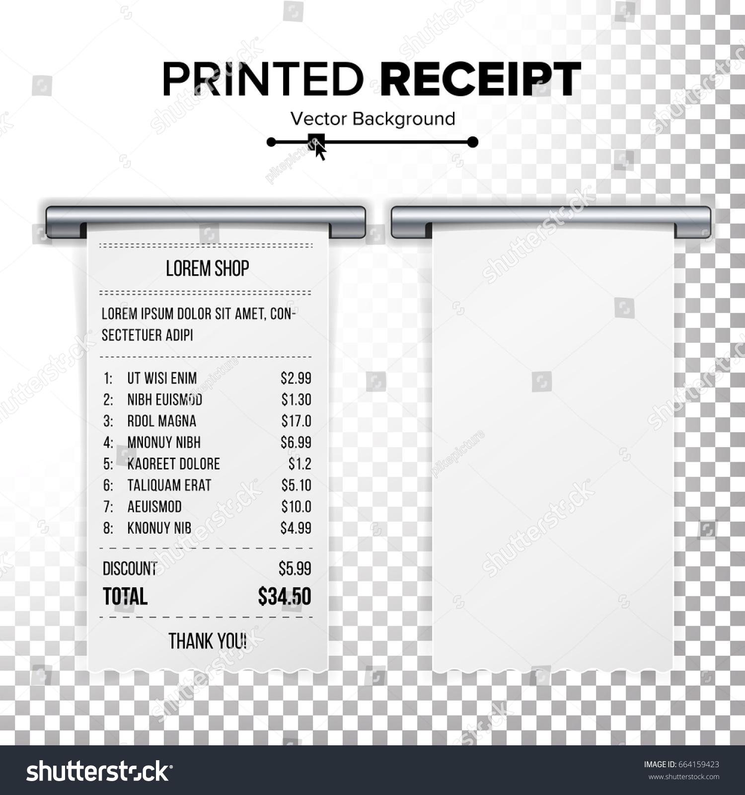 Sales Printed Receipt Vector Bill Atm Stock Vector Royalty Free