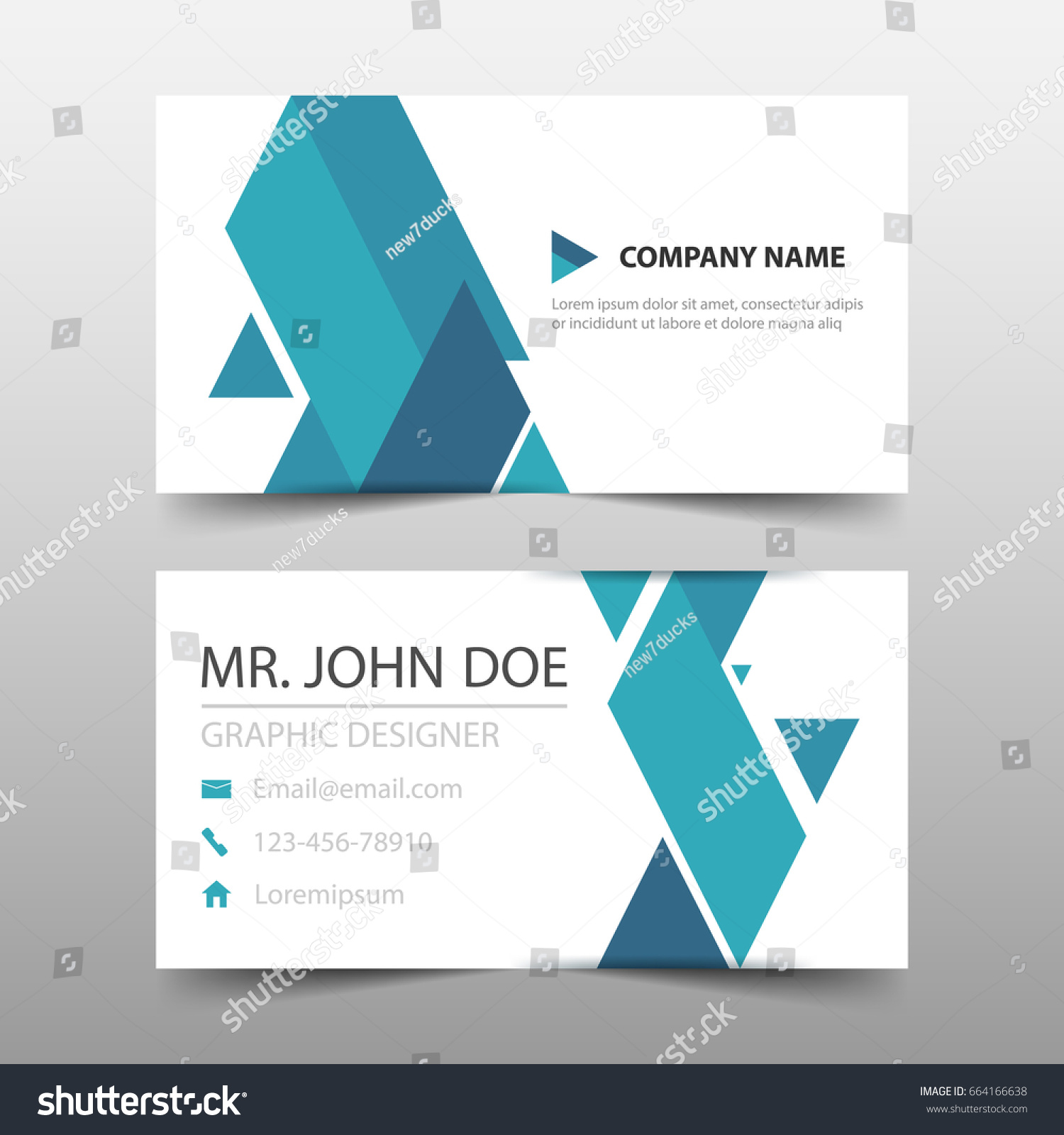Blue Triangle Corporate Business Card Name Stock Vector 664166638 ...
