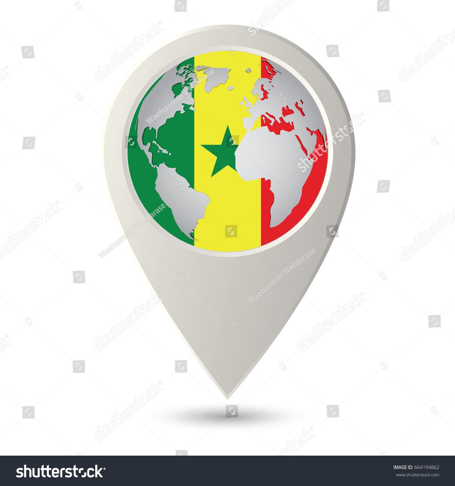 Senegal Flag Location Map Icon Check Stock Vector 664194862