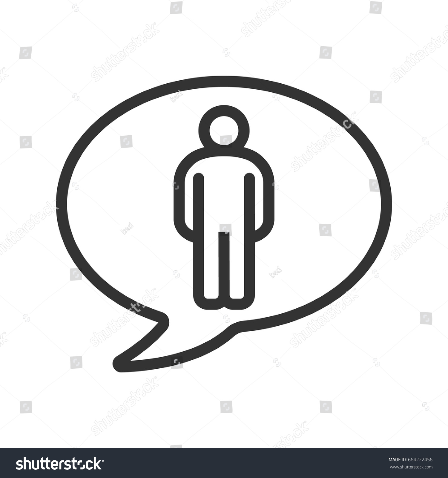 Talk about man linear icon thin stock vector 664222456 shutterstock talk about man linear icon thin line illustration speech bubble with man figure contour biocorpaavc Gallery