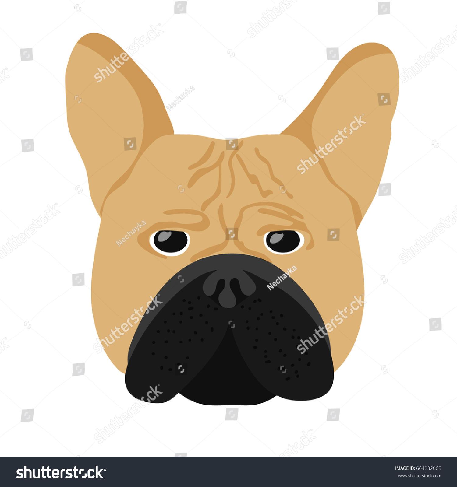 Vector Illustration Dog Head French Bulldog Stock Vector