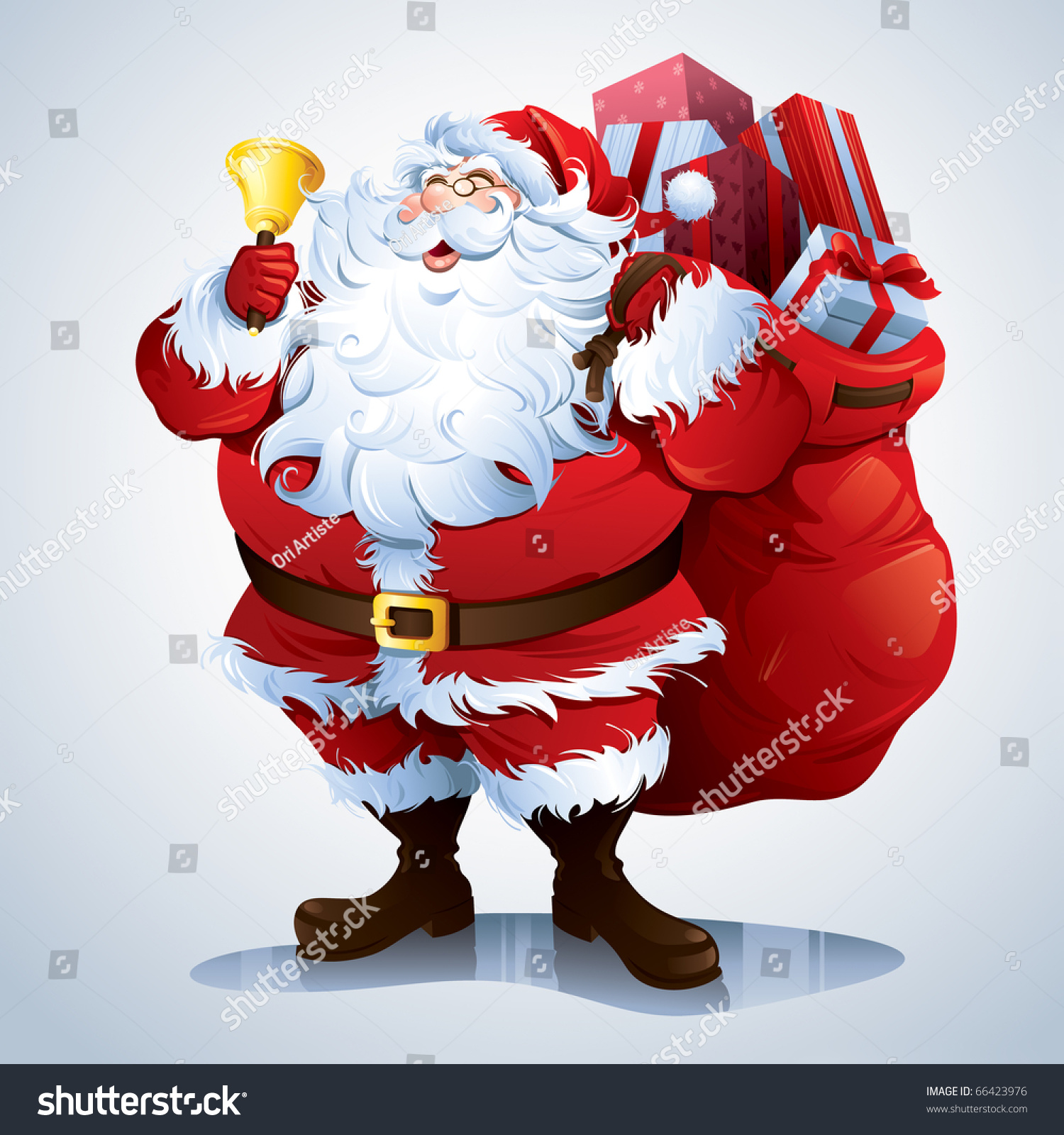 santa claus carrying sack full gifts stock vector 66423976