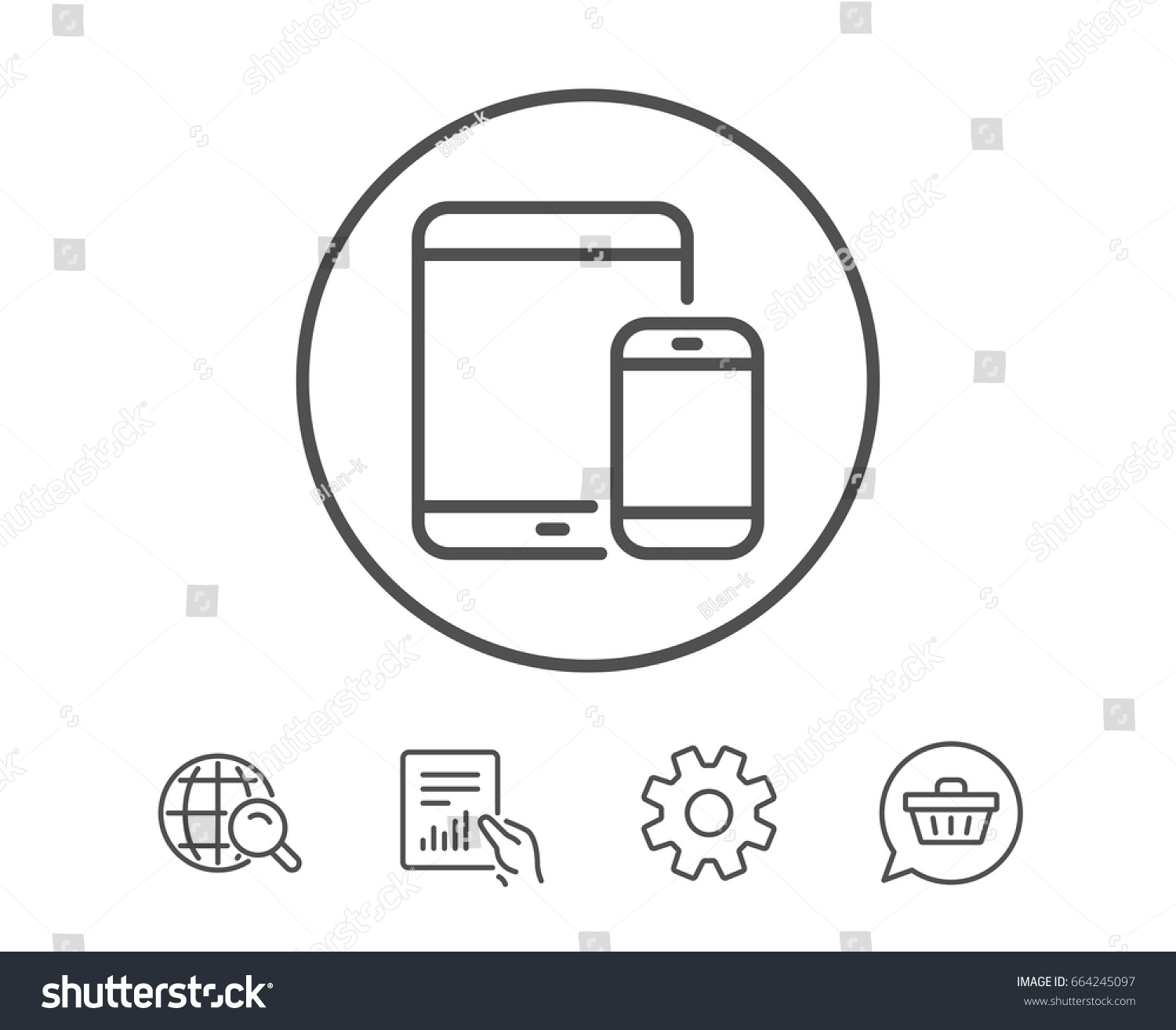Mobile Devices Icon Smartphone Tablet Pc Stock Vector Royalty Free