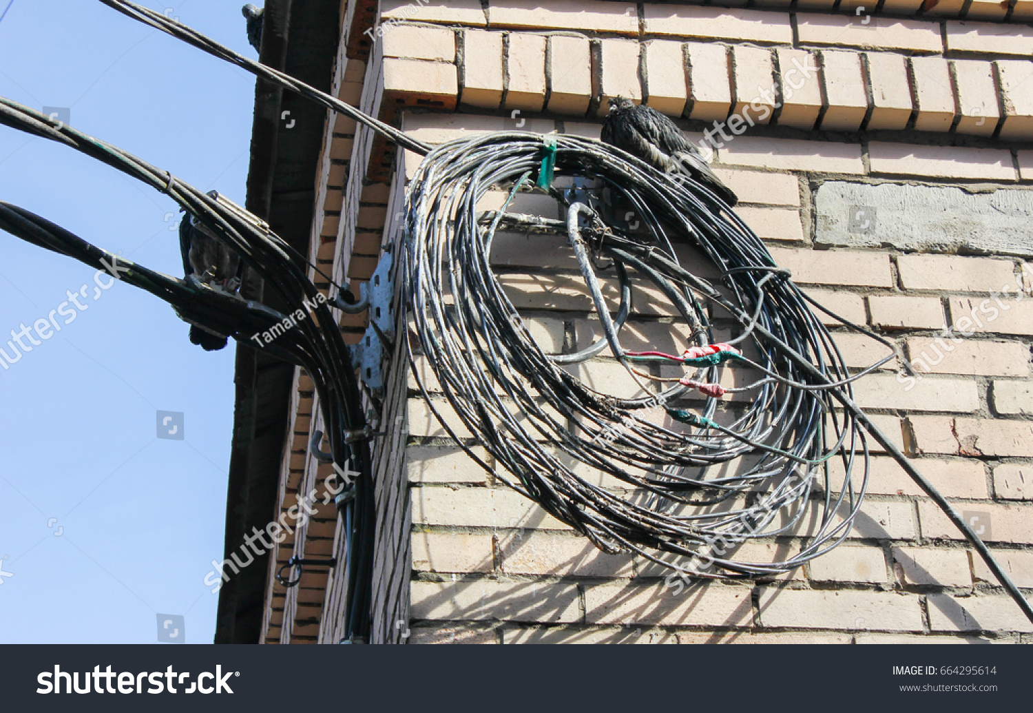 Wires On Transformer Box Twisted Coil Stock Photo Edit Now Wiring Wall The Stranded Wire Cable Hang A