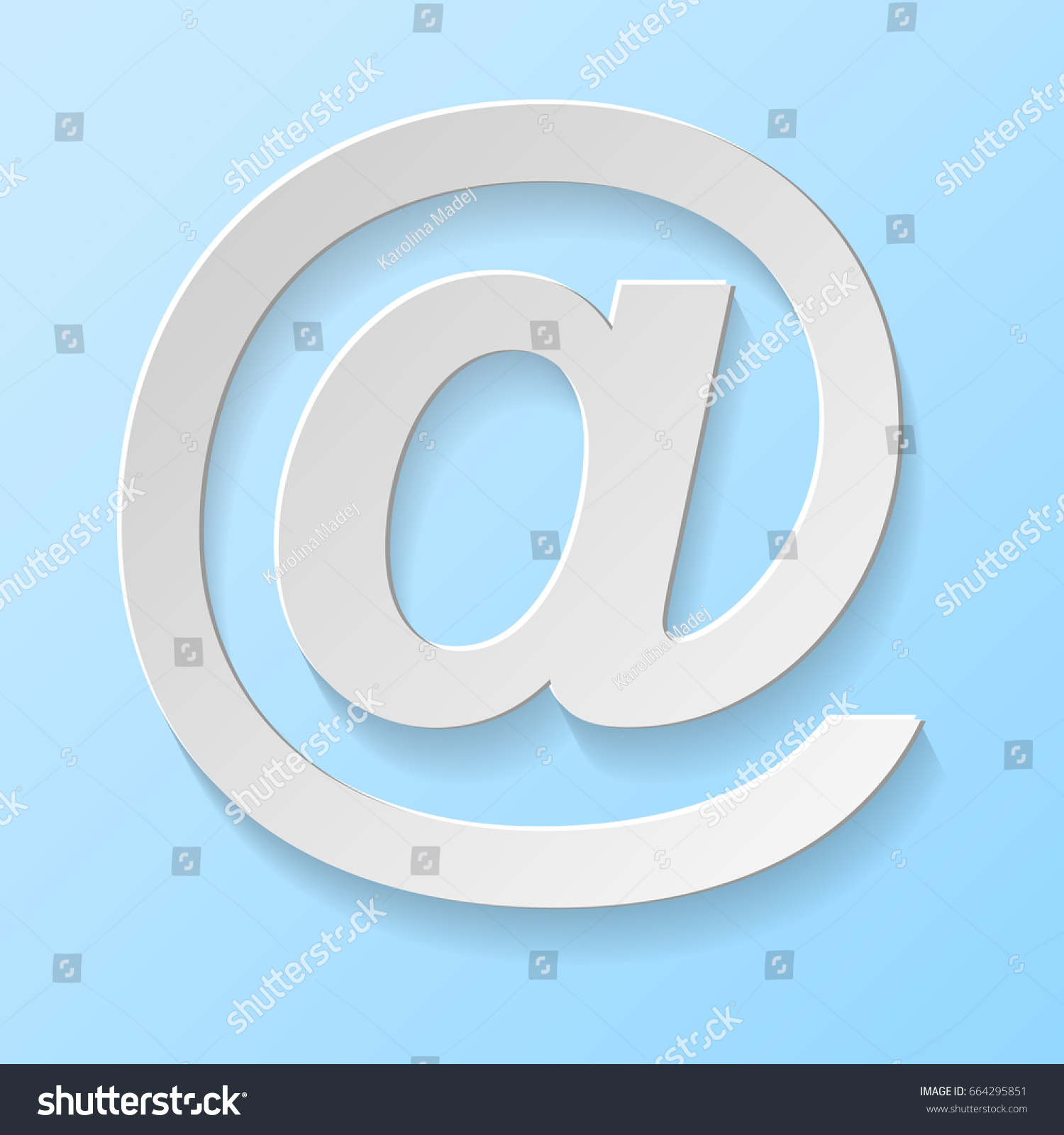 Email Address Symbol Isolated On Blue Stock Vector Royalty Free