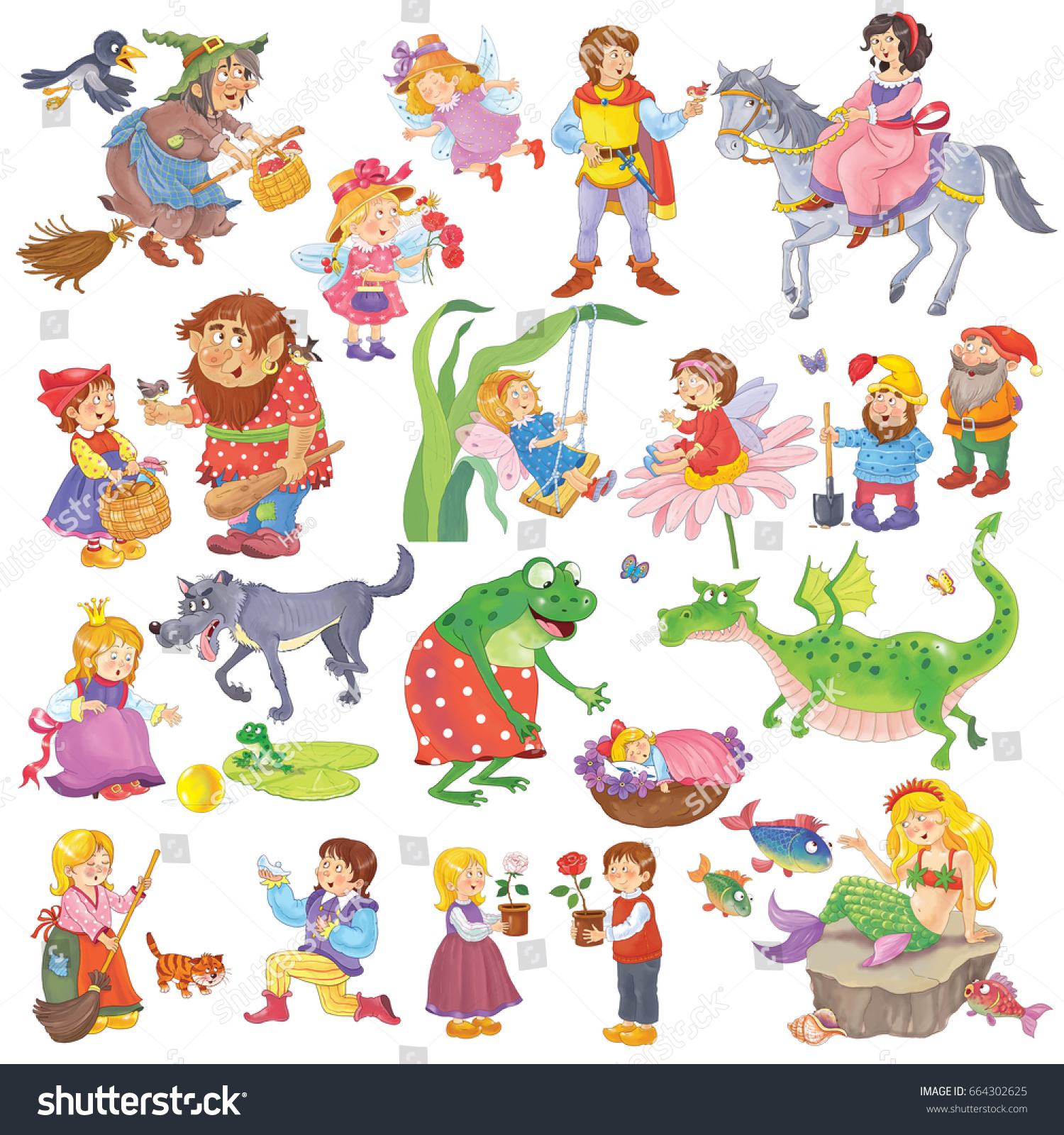Big Set Cute Fairy Tale Characters Stockillustration 664302625 ...