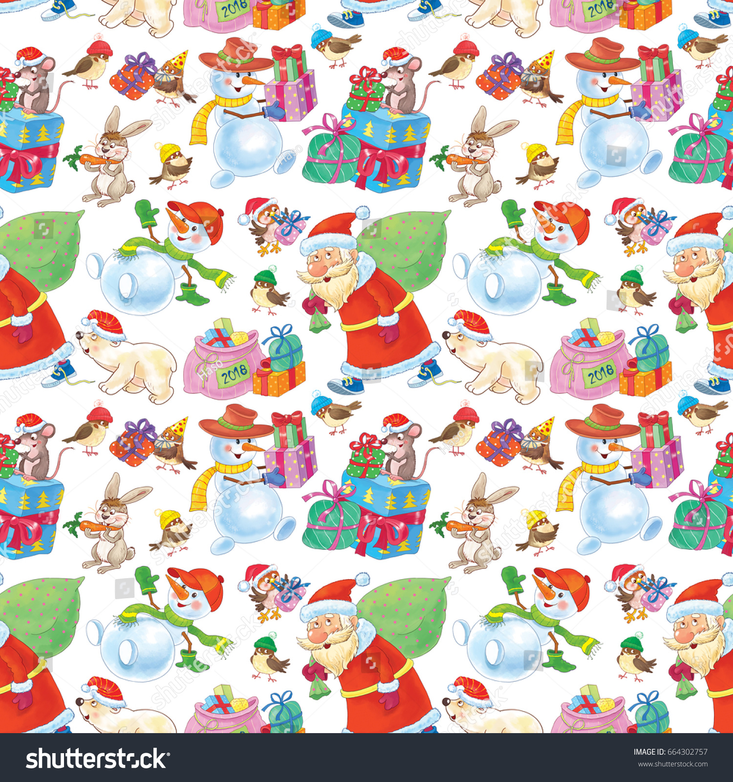 stock photo christmas wallpaper cute santa snowmen white bear parcels and presents seamless pattern 664302757
