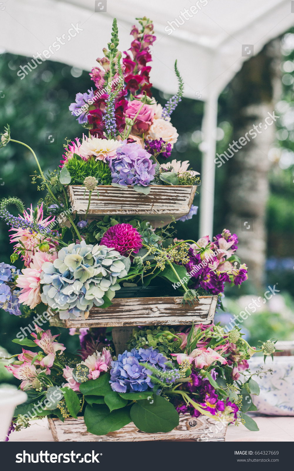 Beautiful Wedding Flower Arrangement On Table Stock Photo Edit Now