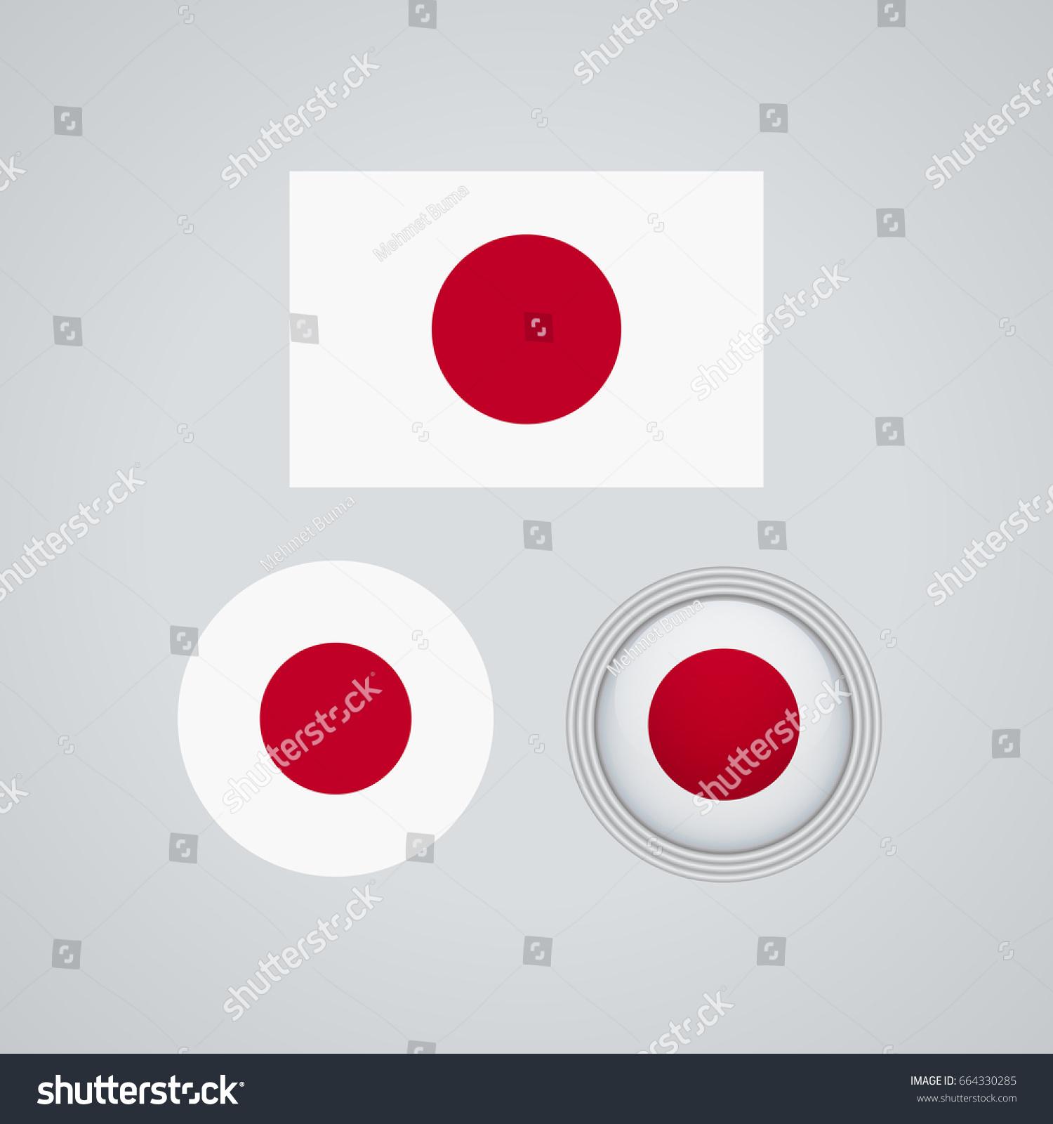 flag design japanese flag set isolated stock vector 664330285, Powerpoint templates