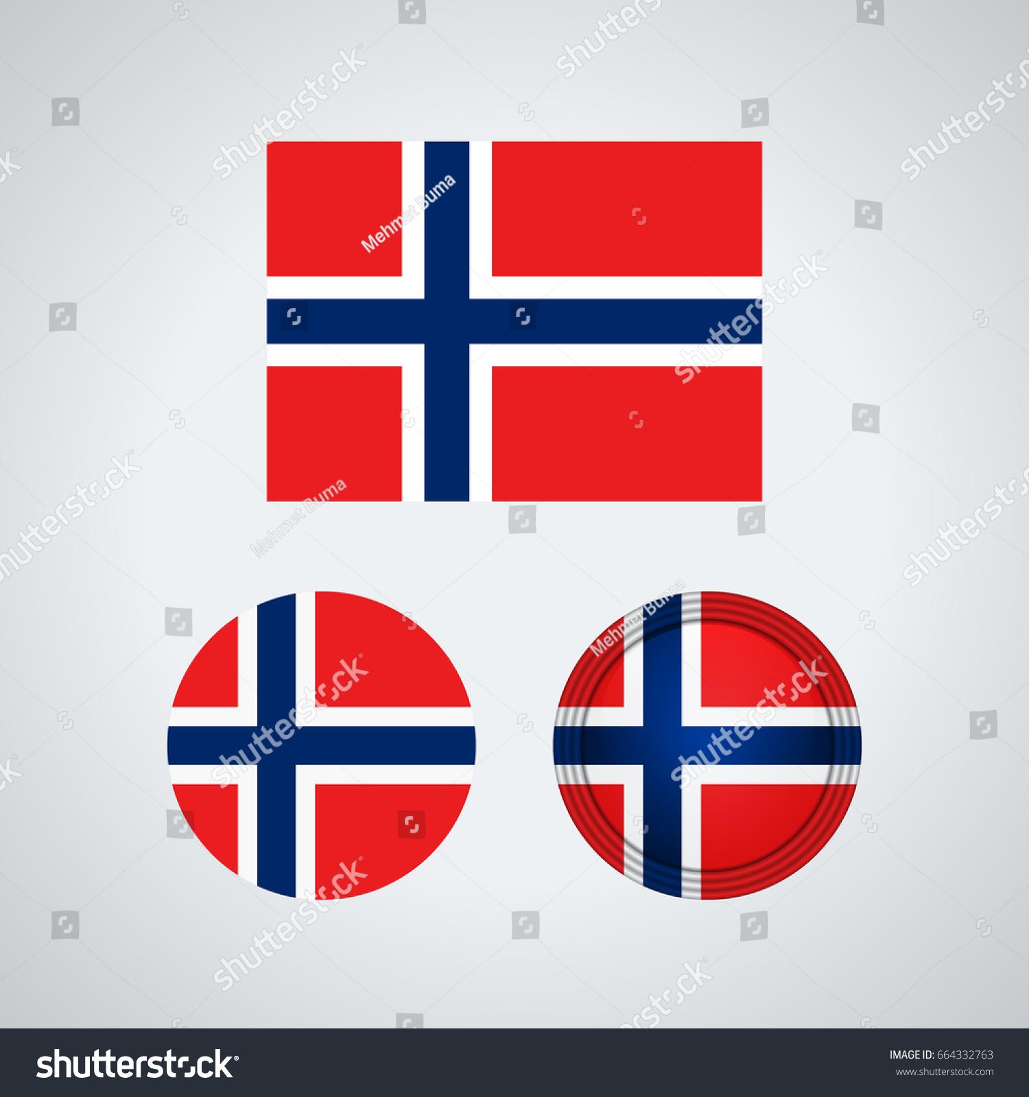 flag design norwegian flag set isolated stock vector 664332763
