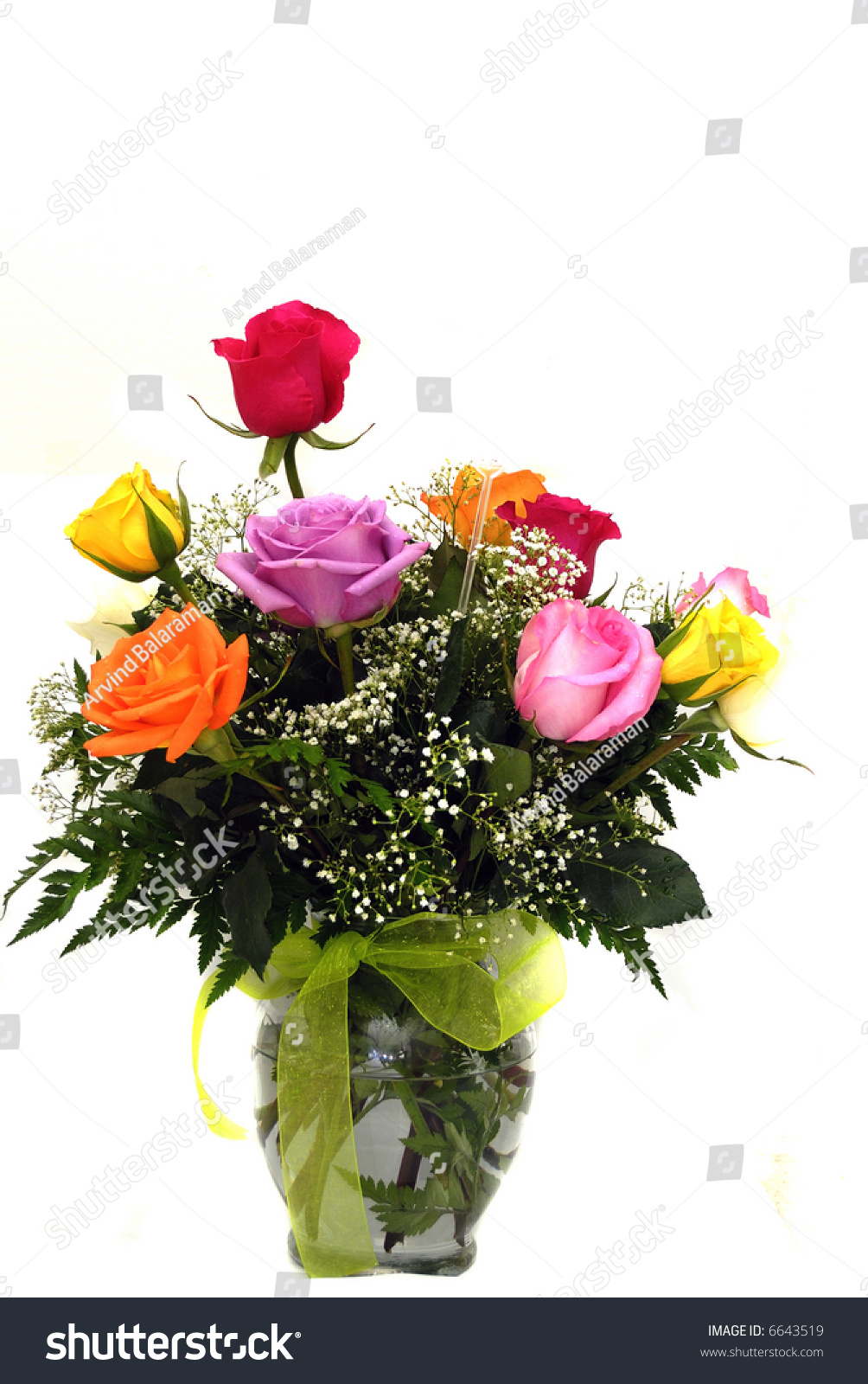 Beautiful Vase Roses Valentine Gift Stock Photo Edit Now 6643519