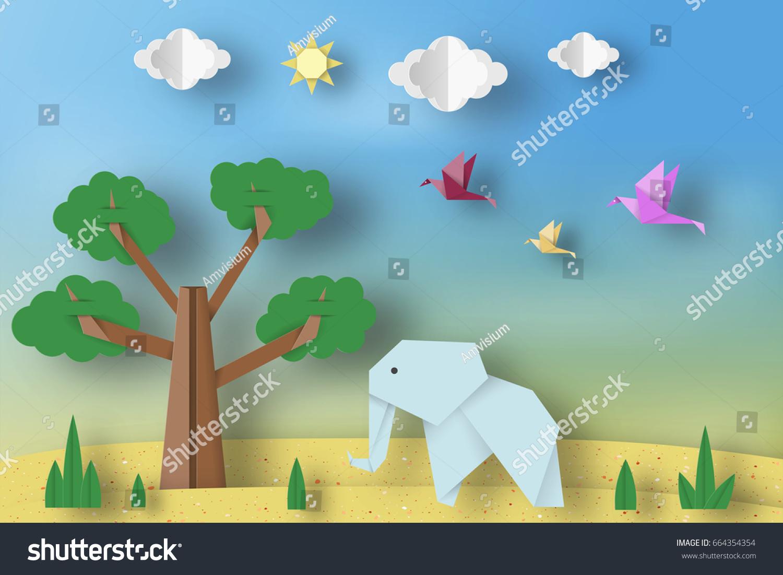 Paper origami concept applique scene cut stock vector 664354354 paper origami concept applique scene with cut elephants birds tree clouds jeuxipadfo Gallery