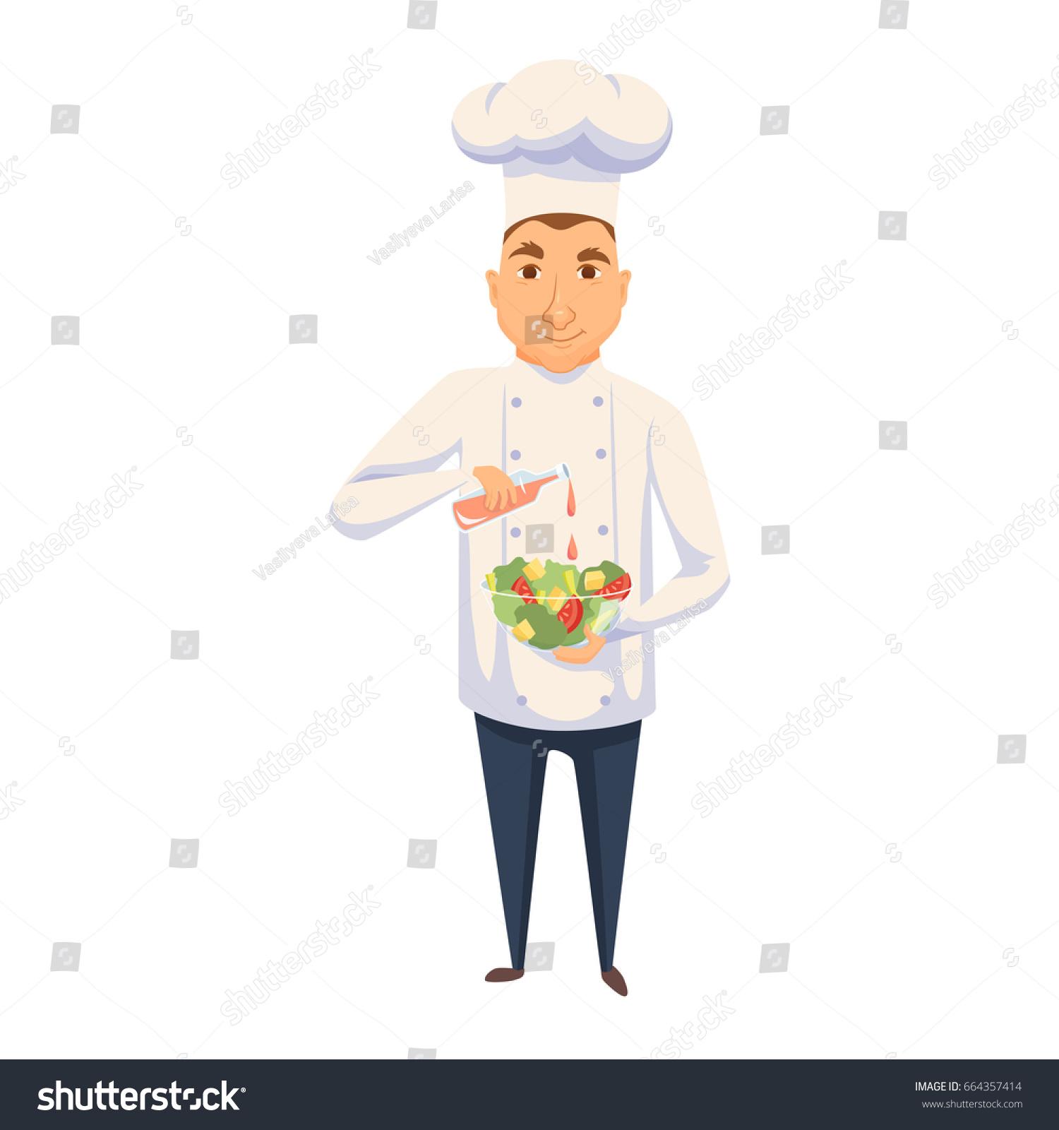 Chef Cooking Salad Restaurant Hotel Kitchen Stock Illustration ...