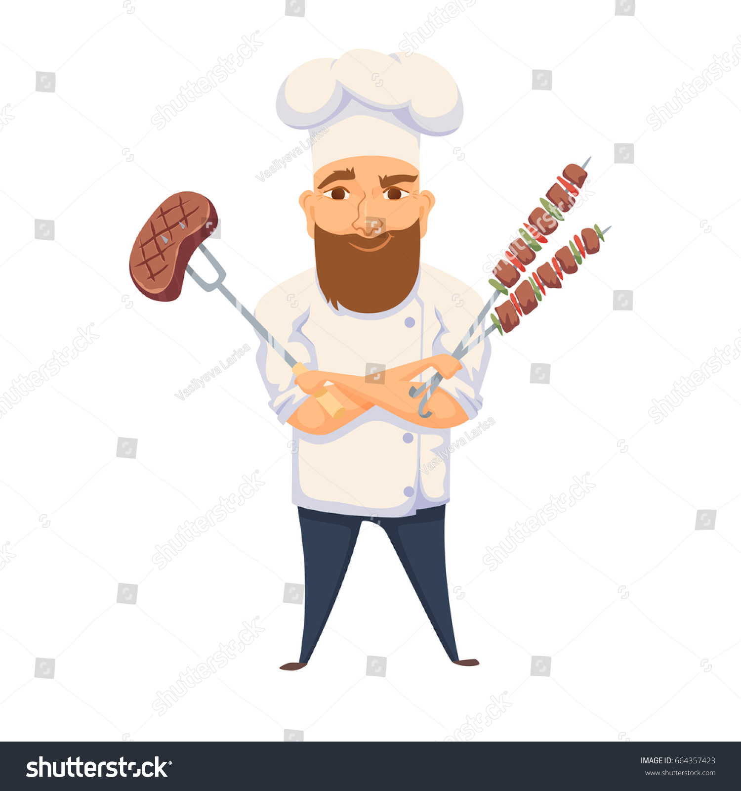 Chef Cooking BBQ Restaurant Hotel Kitchen Stock Illustration ...