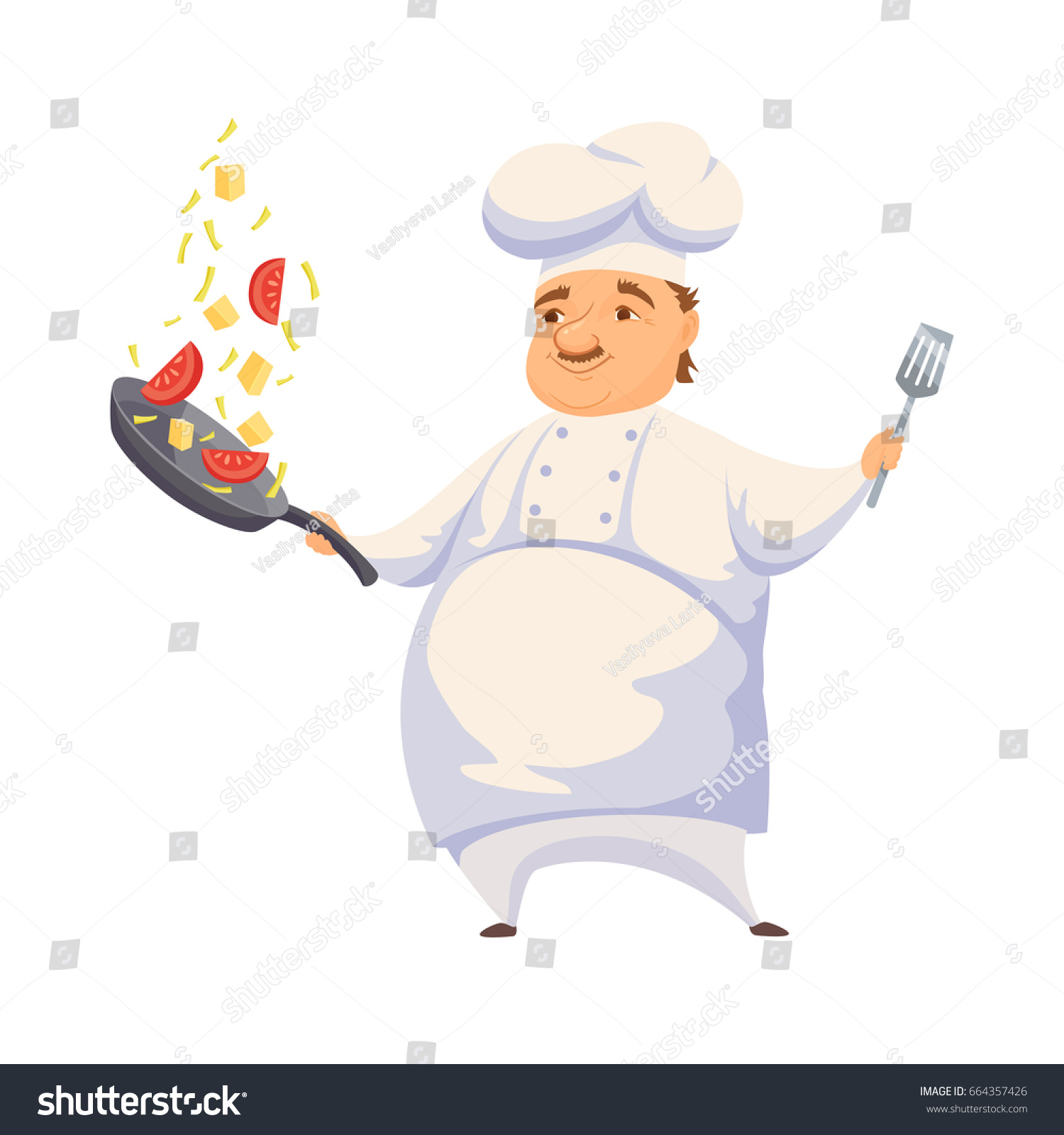 Chef Cooking Pasta Sauce Restaurant Hotel Stock Illustration ...