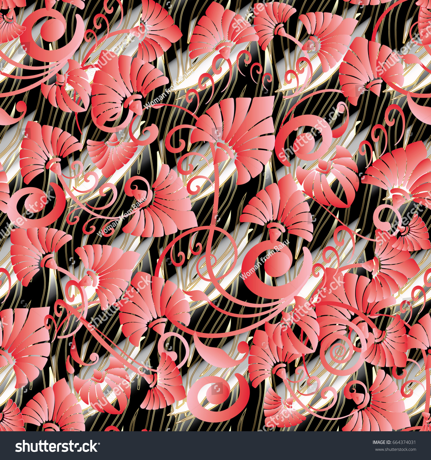 Floral Seamless Pattern Black Background Wallpaper Stock Vector