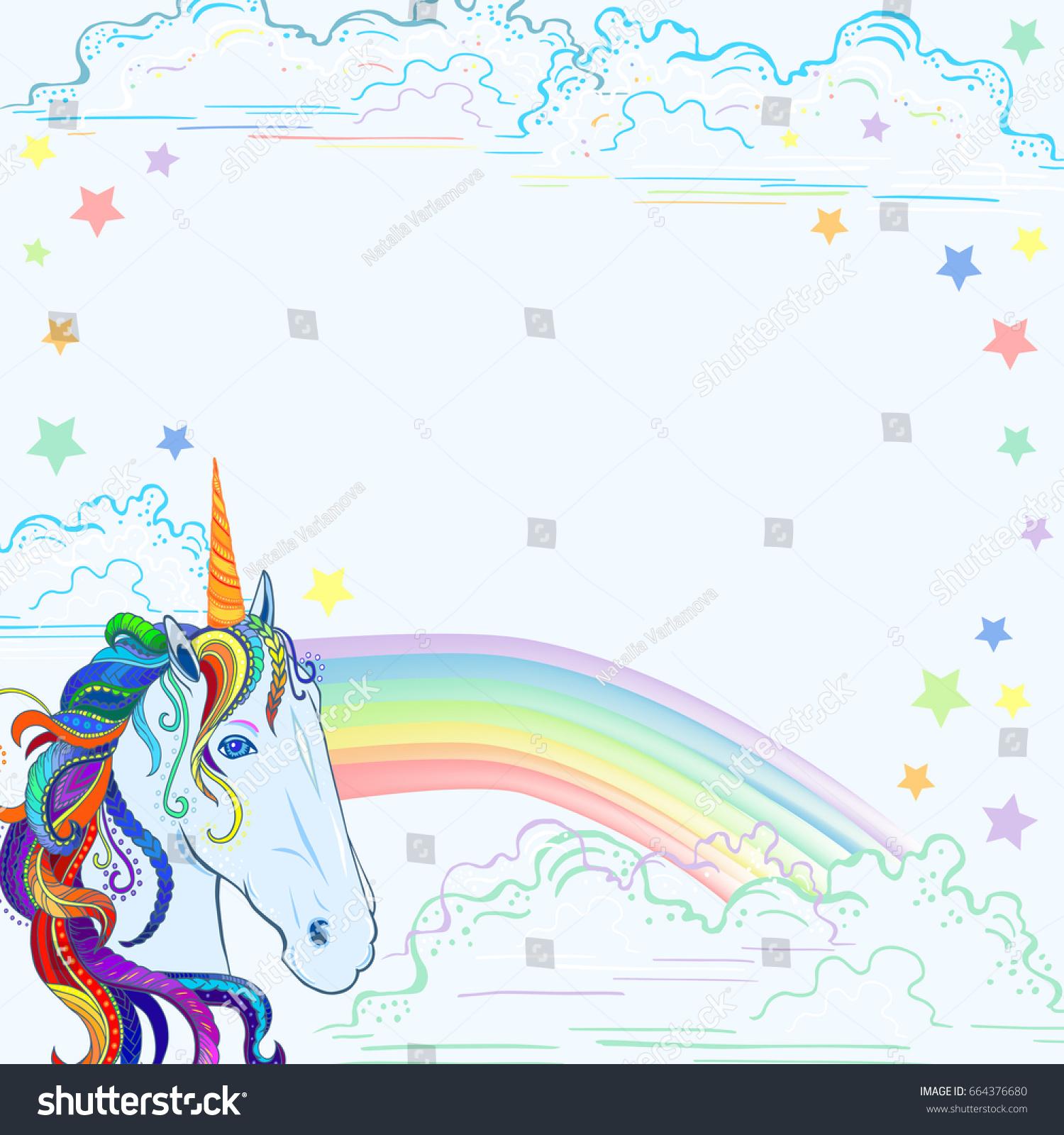 Template Unicorn Rainbow Clouds Stars Text Stock Vector (Royalty ...