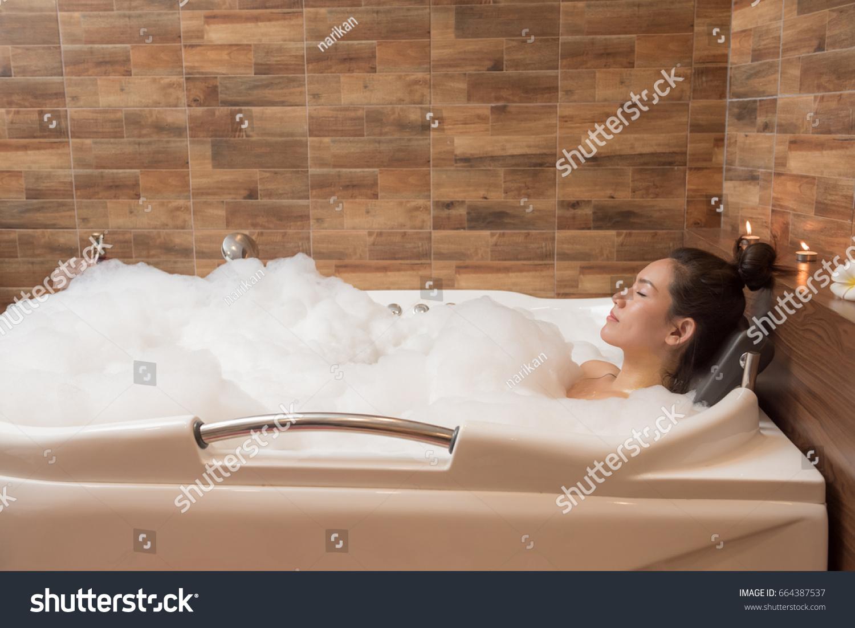 Bathing Woman Relaxing Bath Smiling Relaxing Stock Photo (Royalty ...