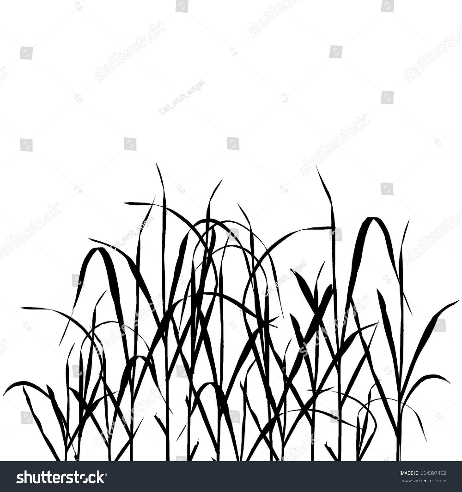 Vector Background Black Grass Silhouettes White Stock Vector HD ...
