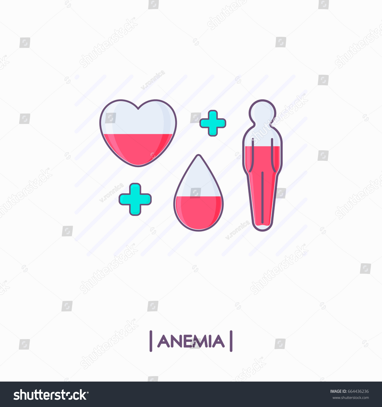 Vetor stock de collection anemia icons heart drop human livre de heart drop and human body with low level of red ccuart Choice Image