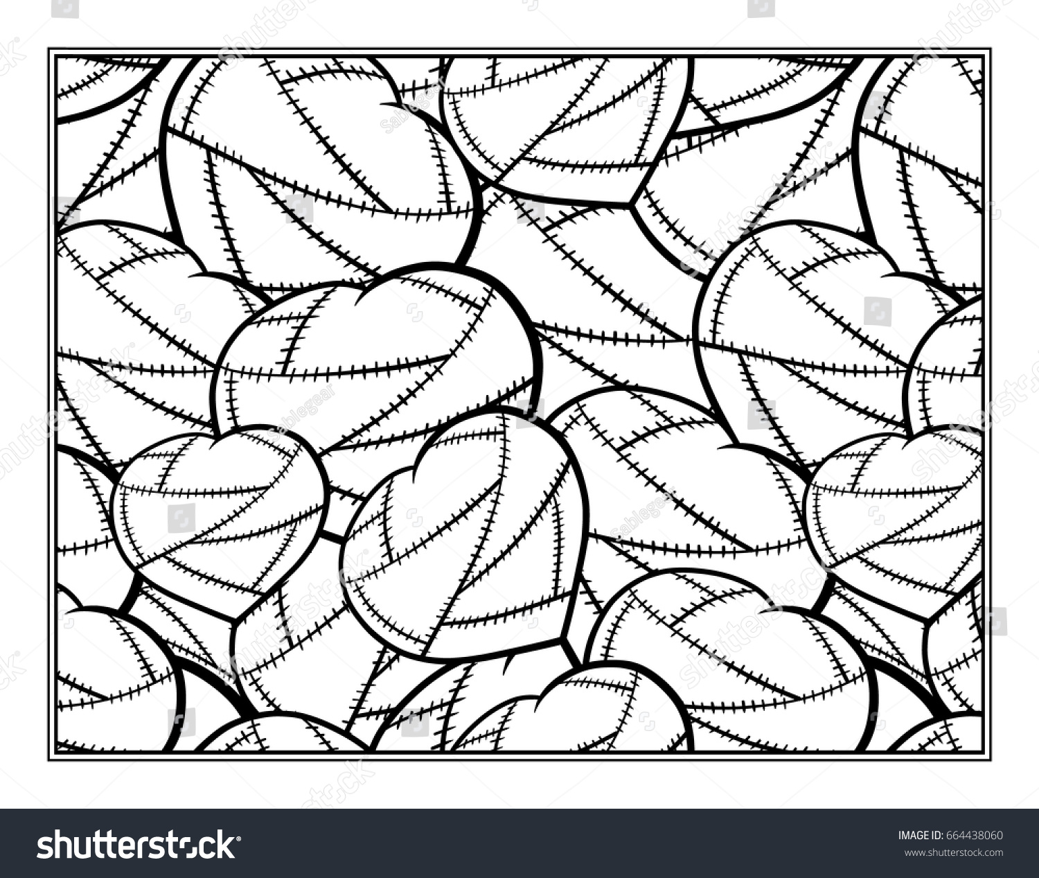 stitched hearts decorative ornamental coloring page stock vector
