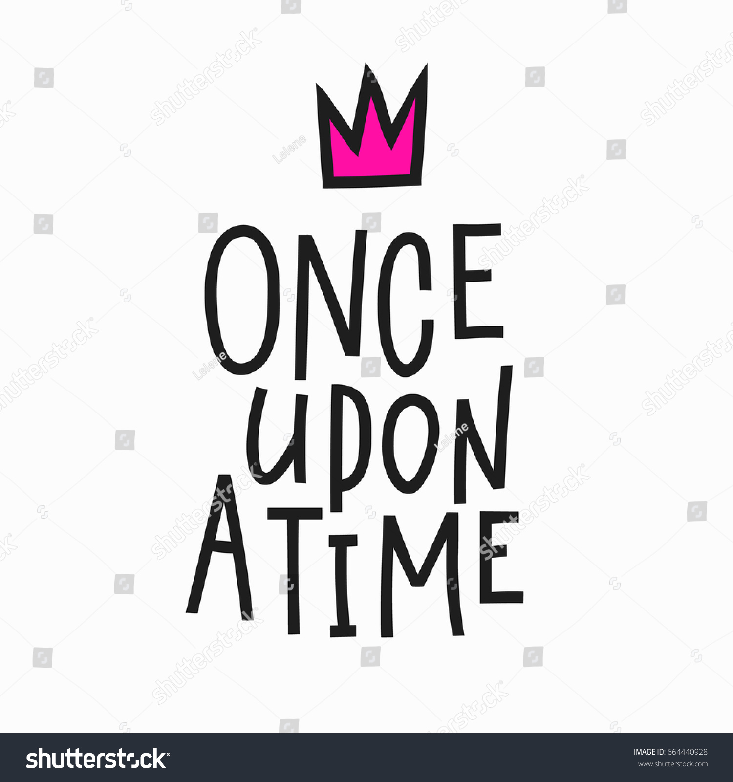 once upon time lettering fairy tale stock vector 664440928
