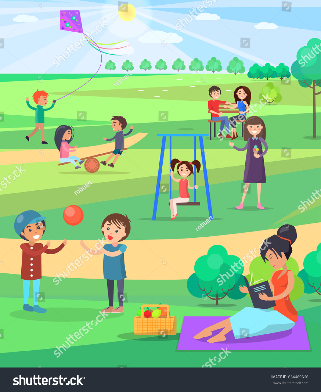 People Spending Free Time Outdoor Park Stock Vector 664469566 ...