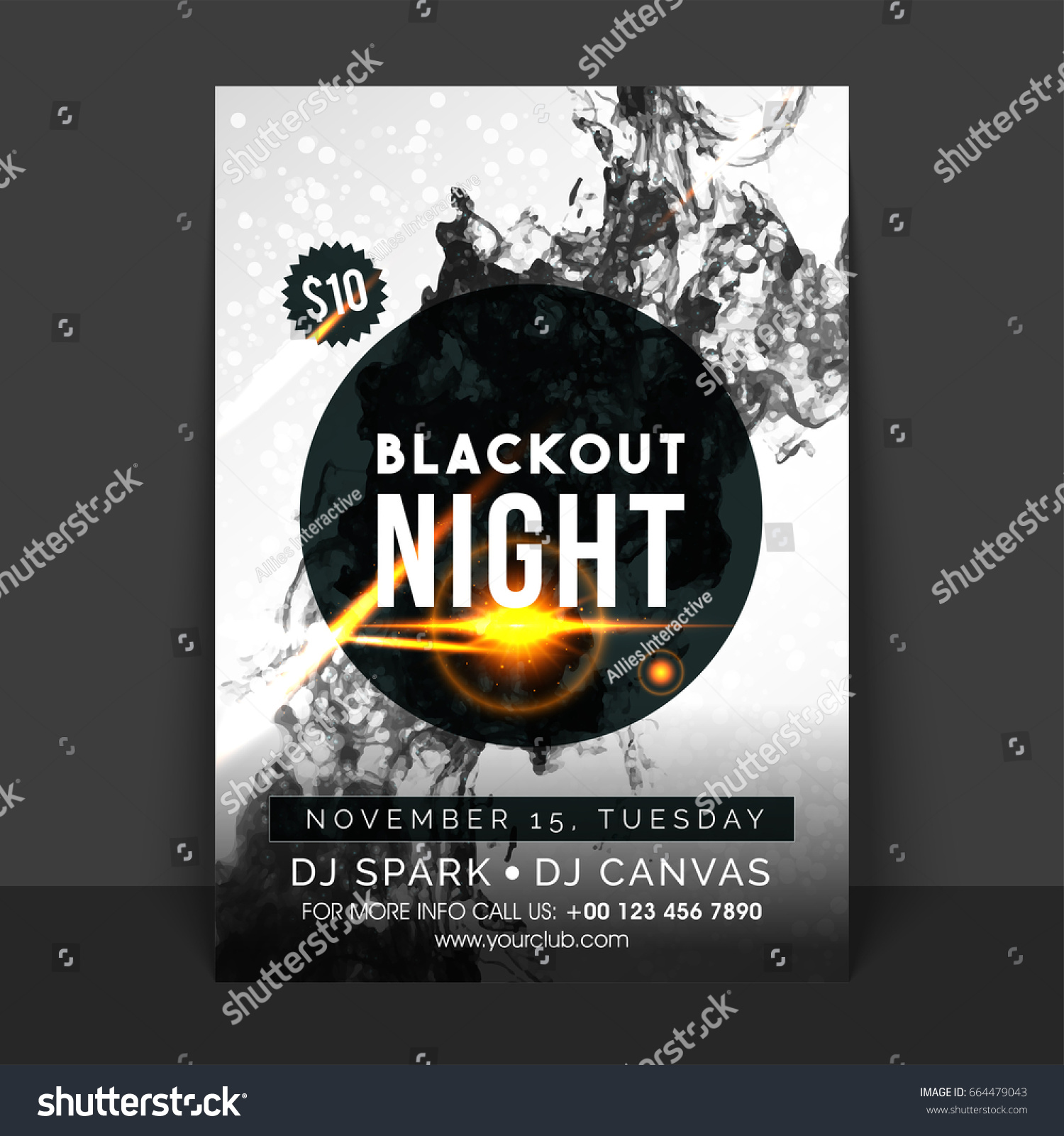 Blackout night flyer music party template stock vector 664479043 blackout night flyer music party template or banner design with abstract smoke effect saigontimesfo