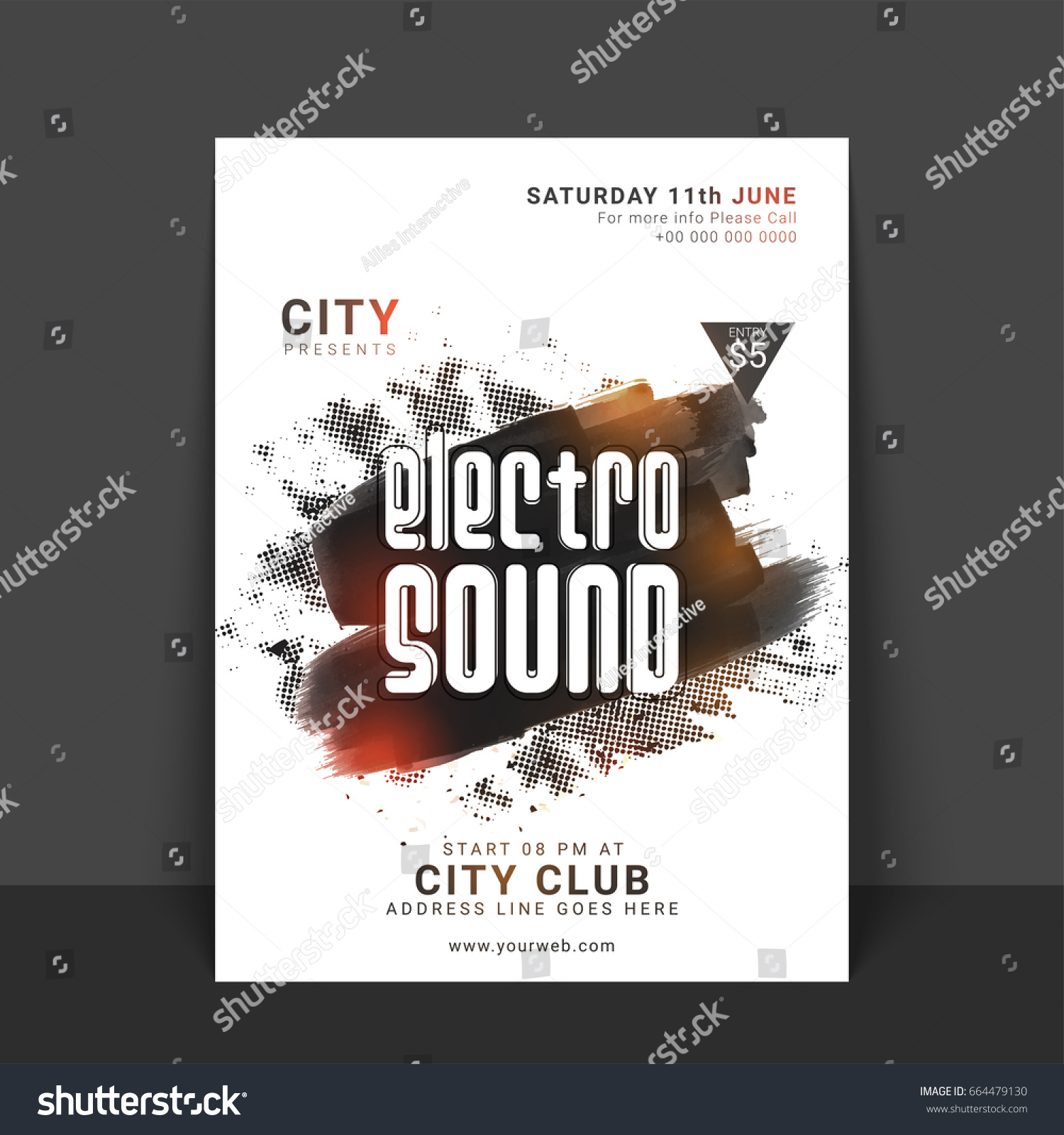 Electro Sound Music Party Flyer Template Stock Vector 664479130 ...