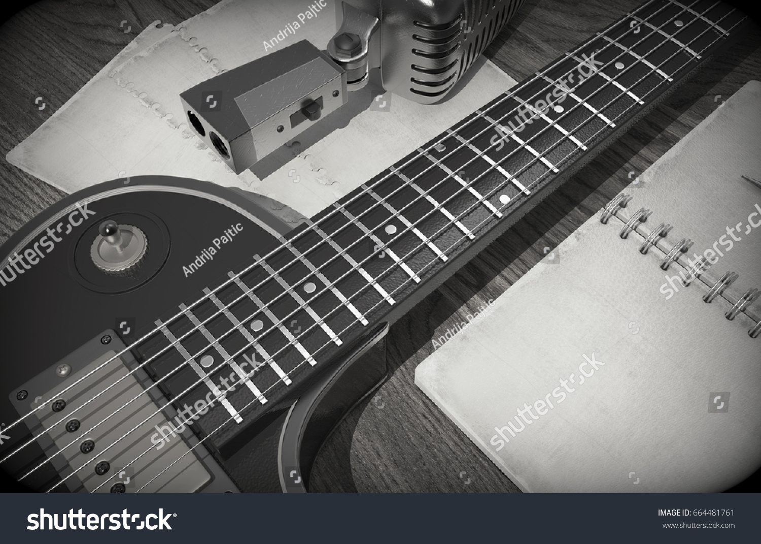 Guitar Microphone Notebook Chords On Wooden Stock Illustration