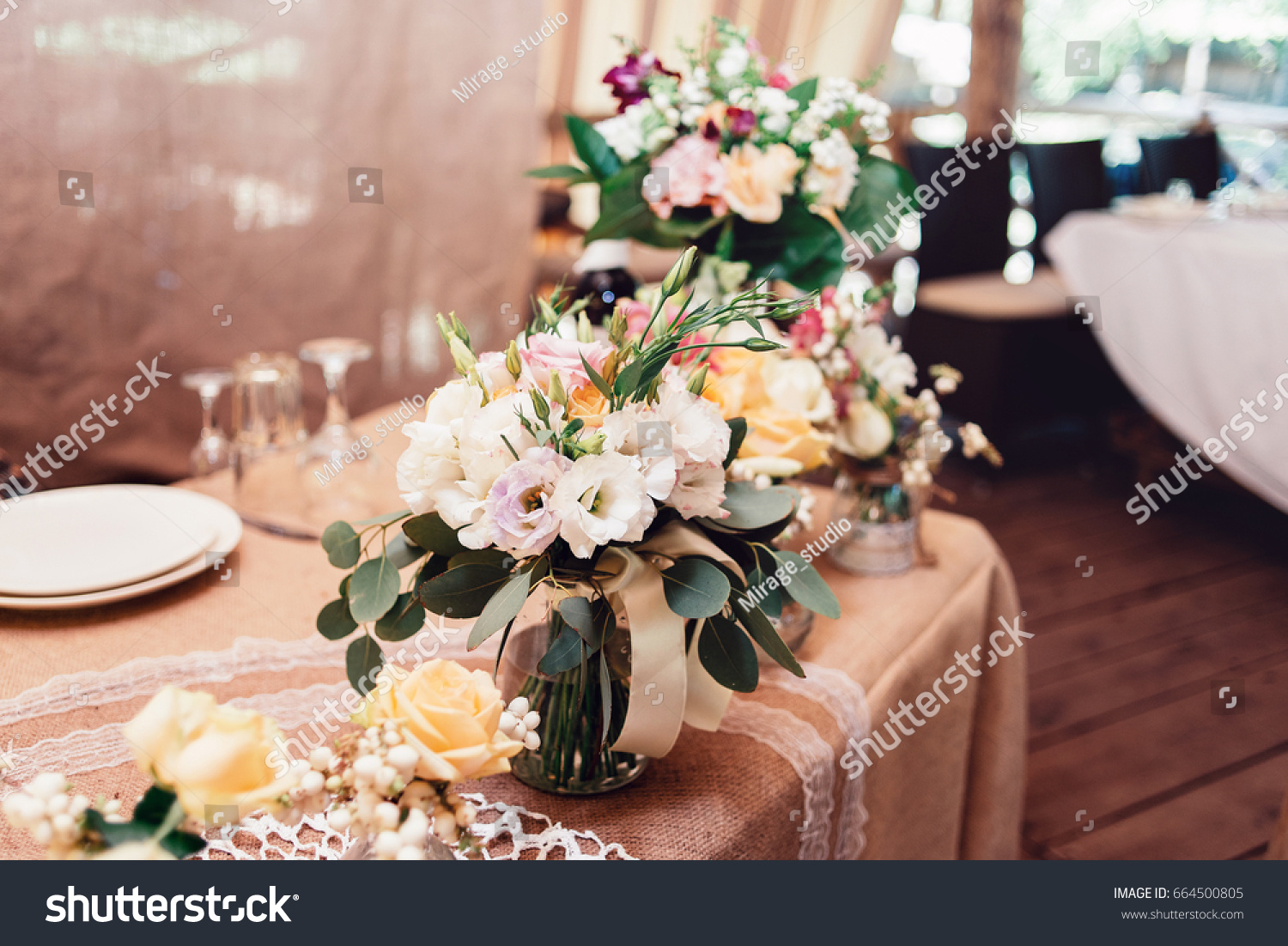 Wedding Bouquets Yellow White Pink Roses Stock Photo Royalty Free