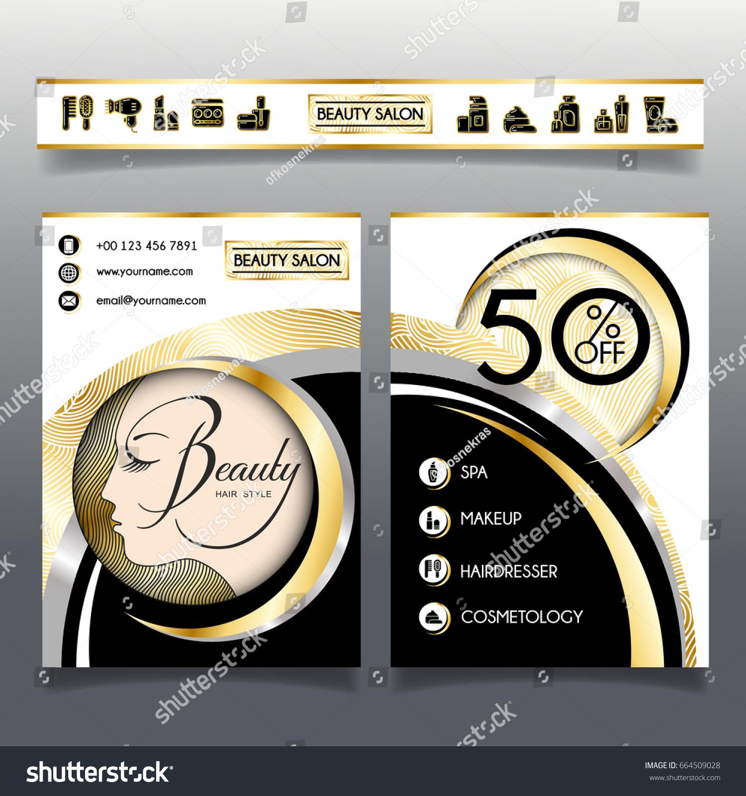 Business Brochure Template Beauty Salon Hairdressing Stock Vector