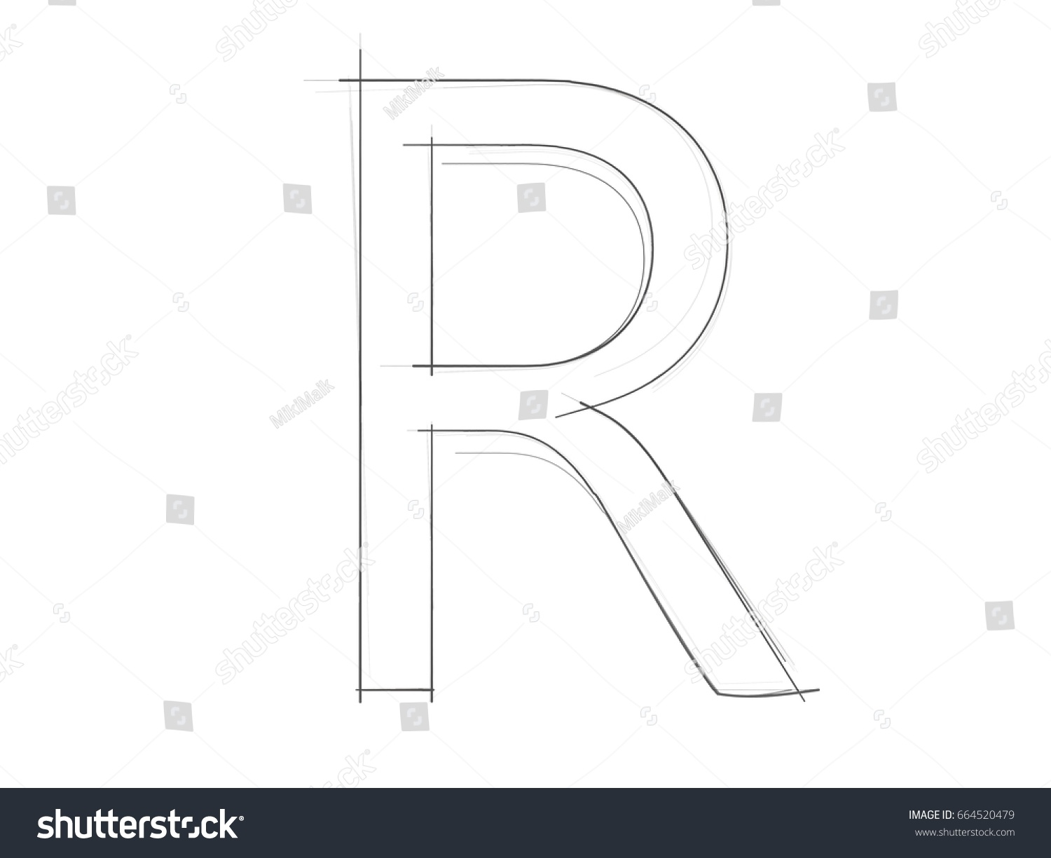 Font pencil sketch hand drawn alphabet drawing white background isolated r capital letters