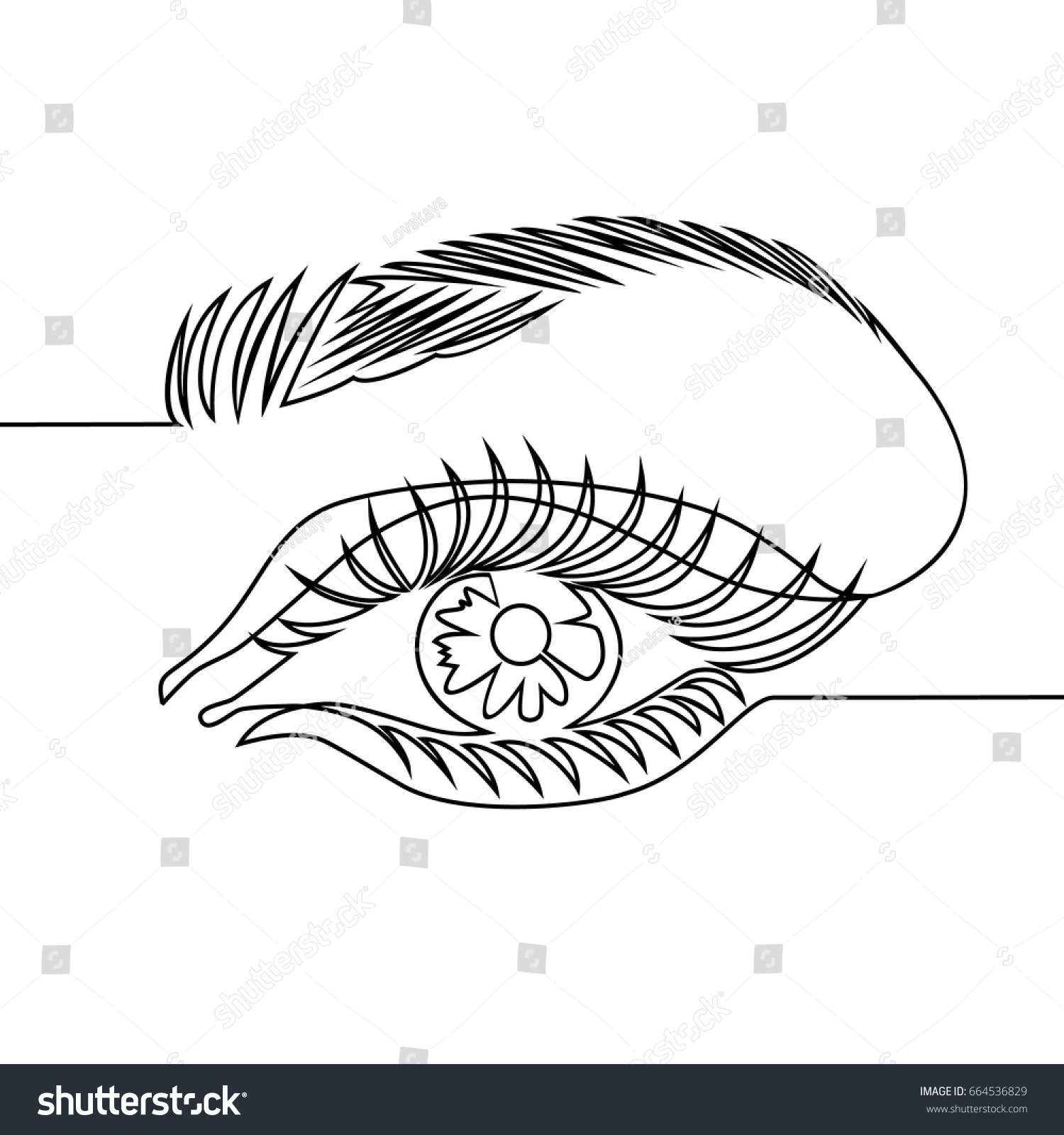 Line Drawing Eye : One line drawing woman eye stock vector