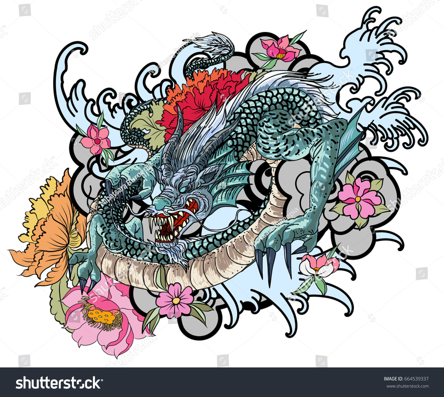 Full Color Asian Dragon Tattoo Coloring Stock Vector Royalty Free