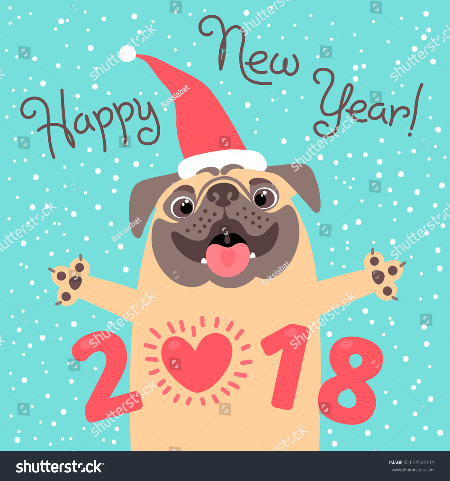 Happy 2018 New Year Card Funny Stock Vector Royalty Free 664546111
