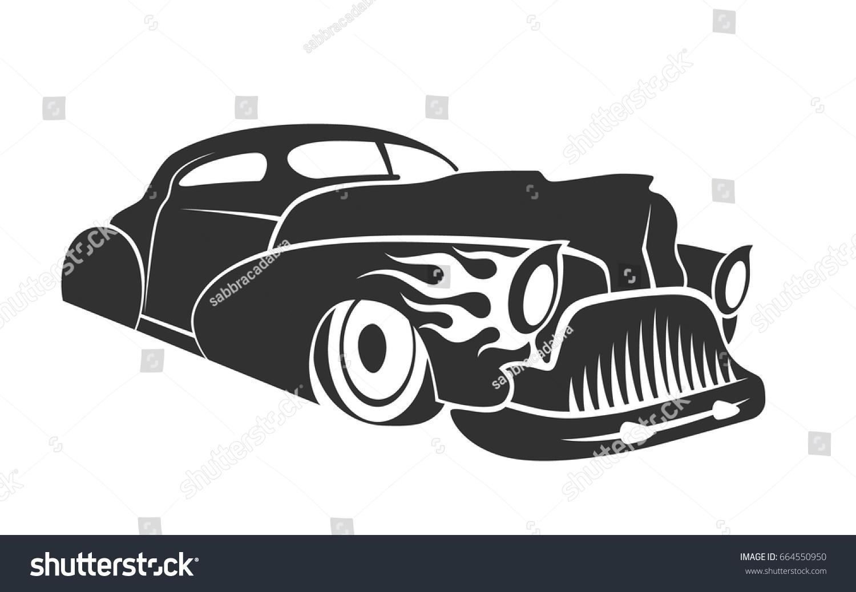 Vetor Stock De Old Custom Car Silhouette Hot Rod Livre De Direitos 664550950