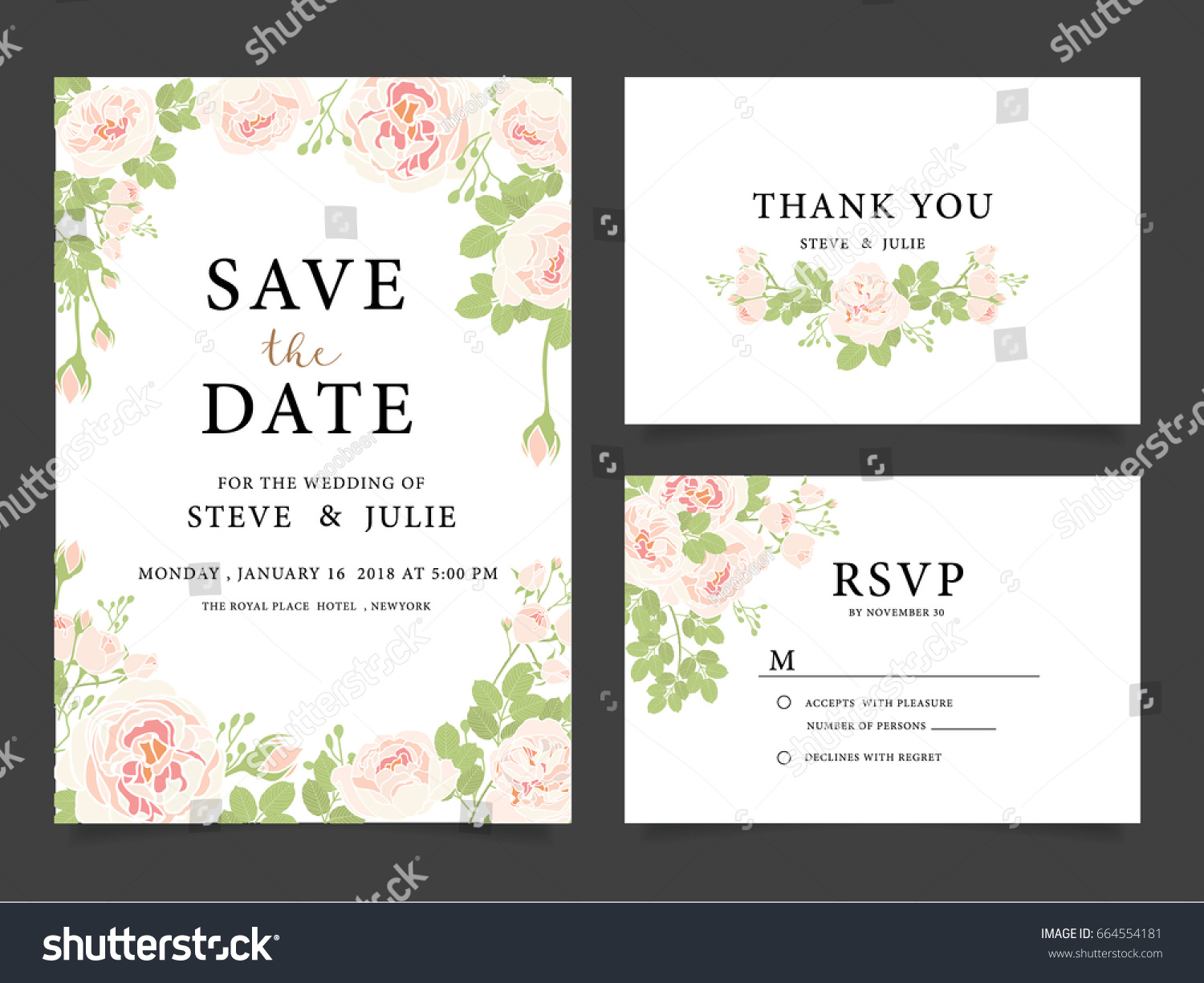 Wedding invitation card template text flower em vetor stock wedding invitation card template with text and flower stopboris Choice Image