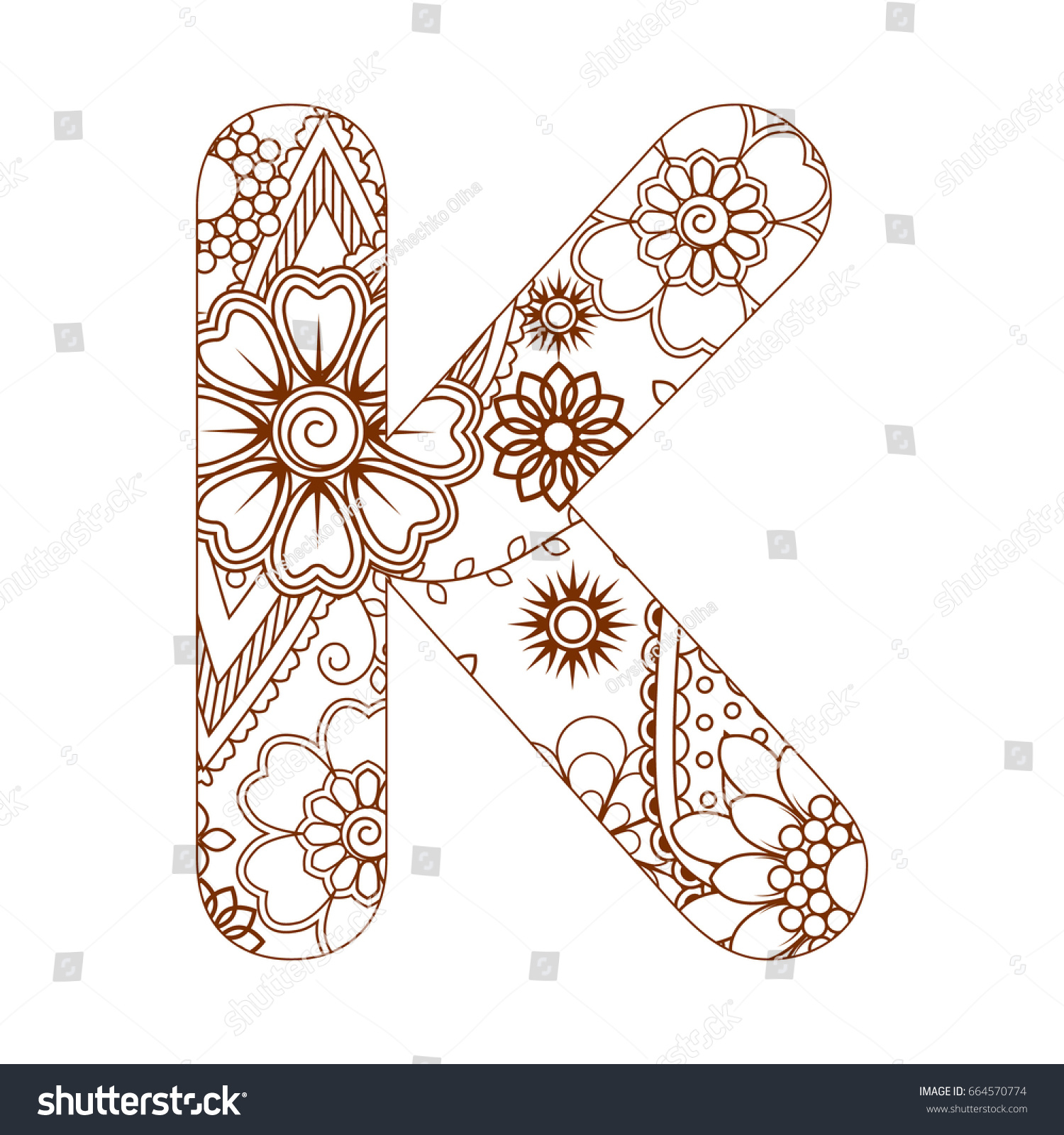 Adult Coloring Page Letter K Alphabet Stock Vector (Royalty Free ...