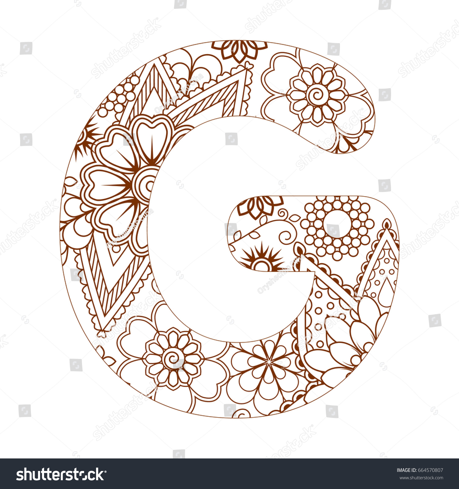 Coloring pages for letter g - Adult Coloring Page With Letter G Of The Alphabet Ornamental Font