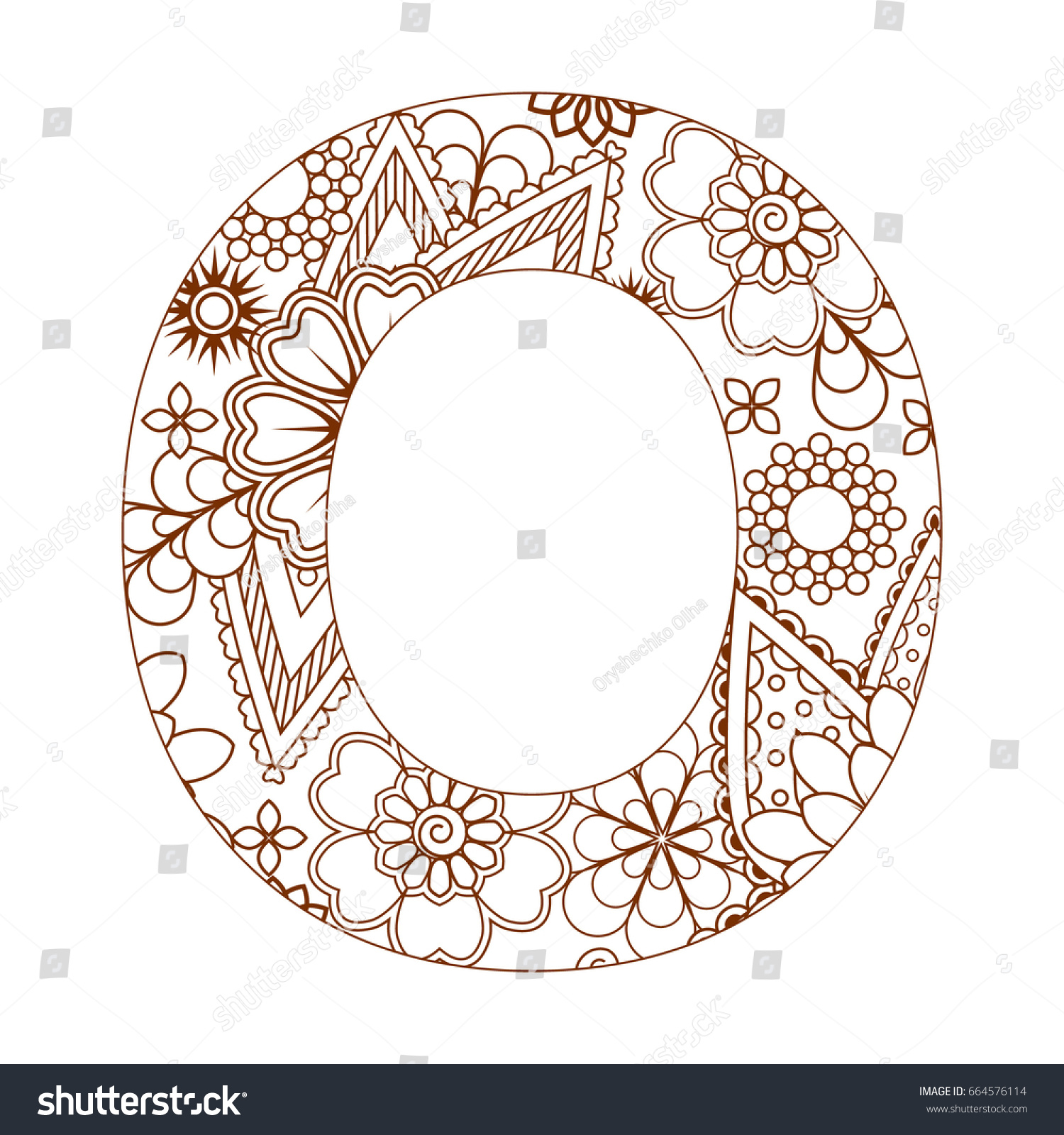 coloring page letter o alphabet stock vector 664576114