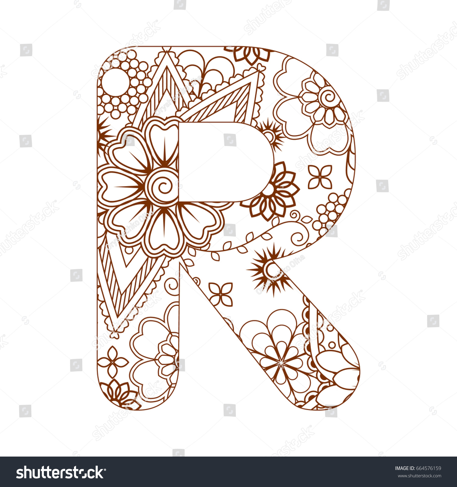 coloring page letter r alphabet stock vector 664576159