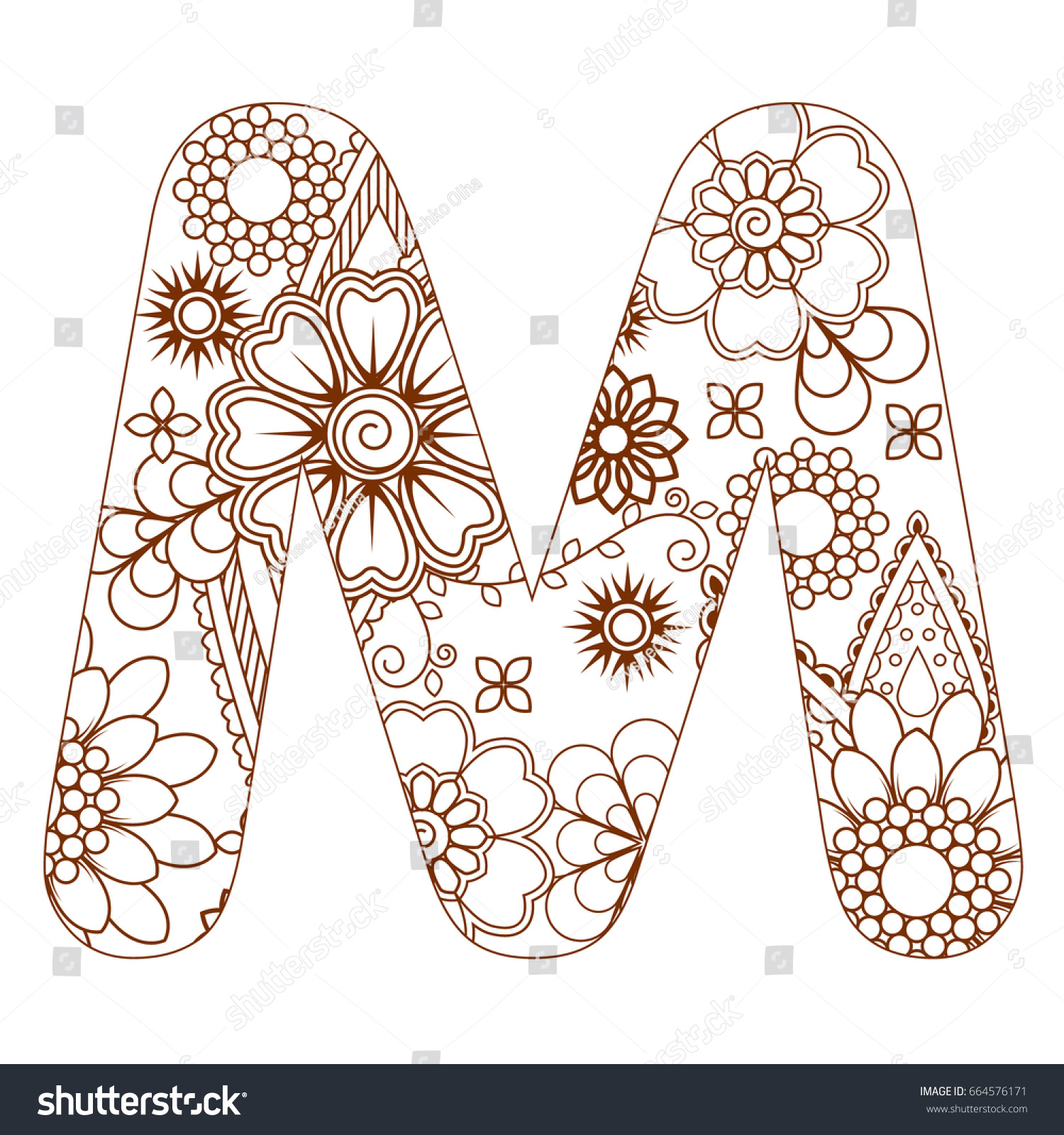 Adult Coloring Page Letter M Alphabet Stock Vector 664576171 ...