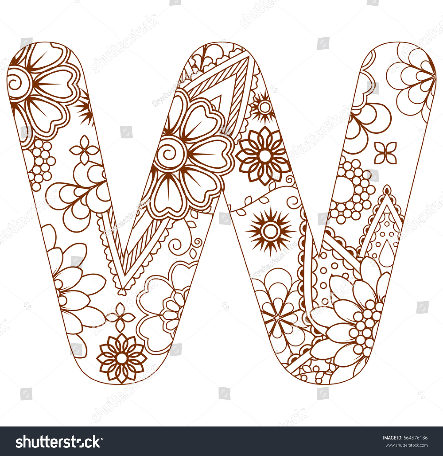 Adult Coloring Page Letter W Alphabet Stock Vector Royalty Free