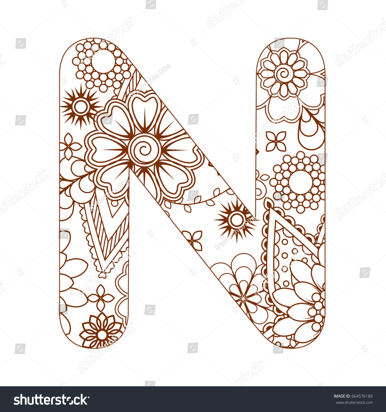 Adult Coloring Page Letter N Alphabet Stock Vector (Royalty Free ...