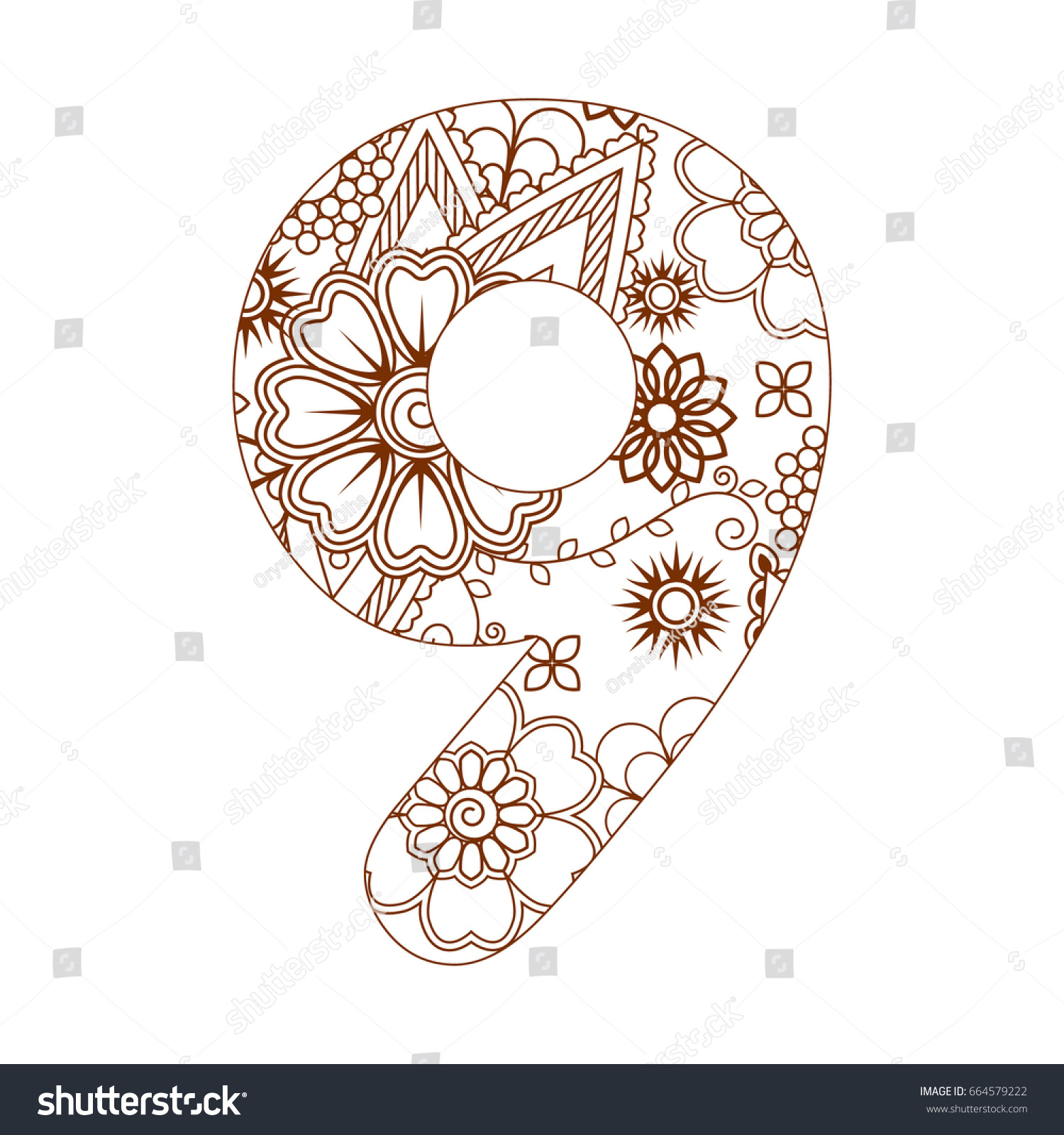 coloring page number 9 ornamental stock vector 664579222