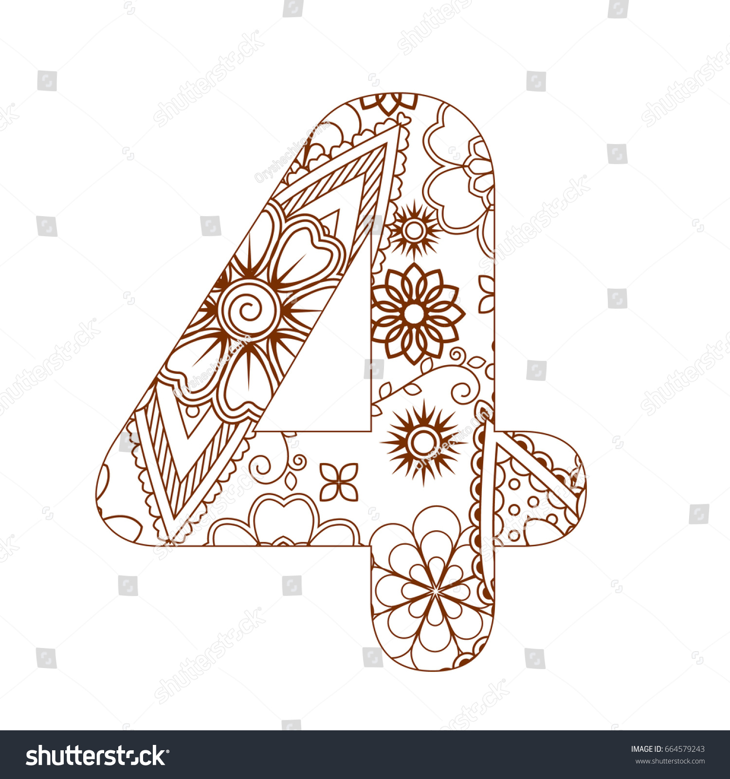 Adult Coloring Page Number 4 Ornamental Stock Vector