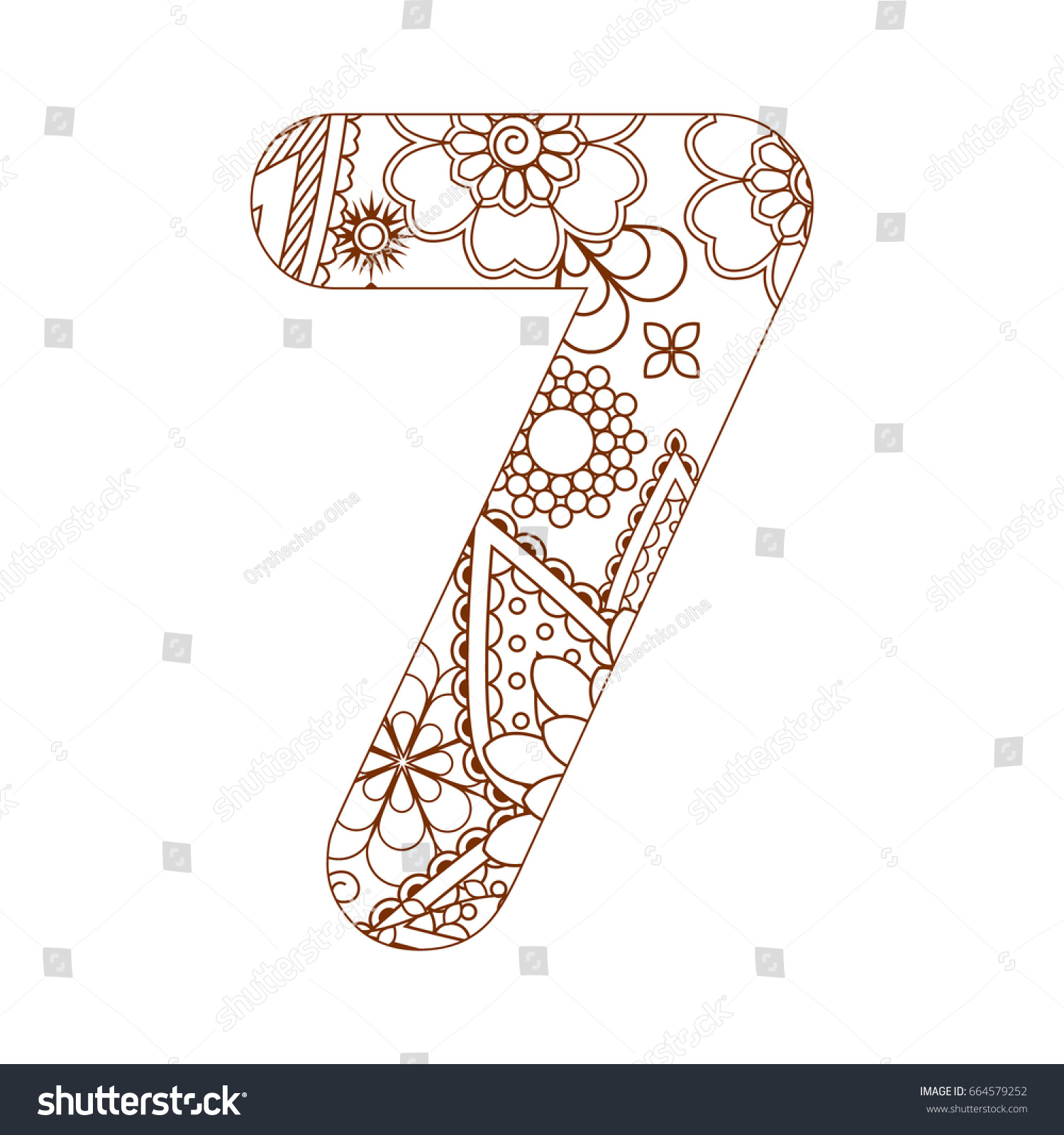 number 7 coloring page. Adult coloring page with number 7  Ornamental font Coloring Page Number Stock Vector 664579252