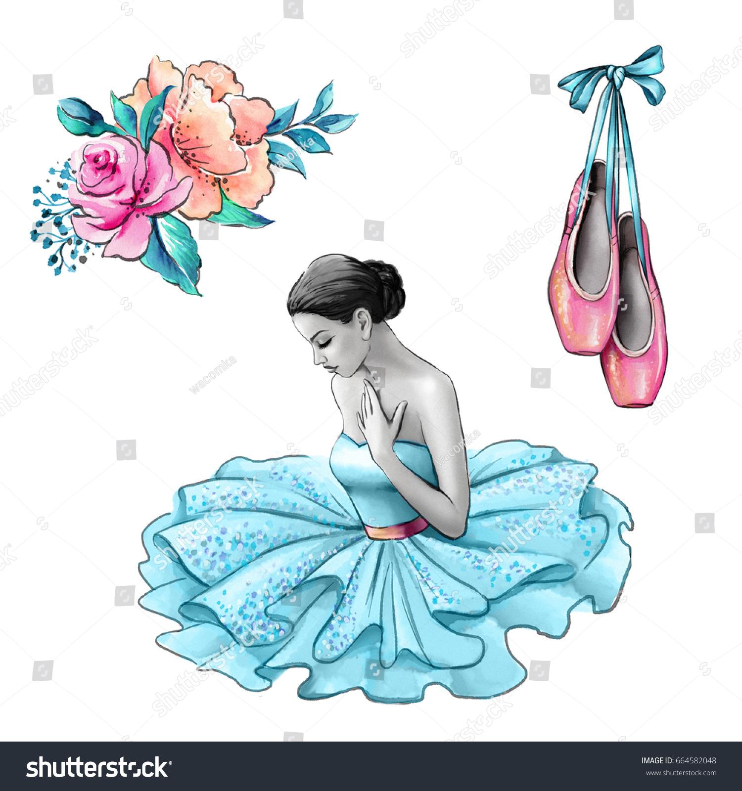 Watercolor Illustration Ballerina Blue Dress Flowers Stock